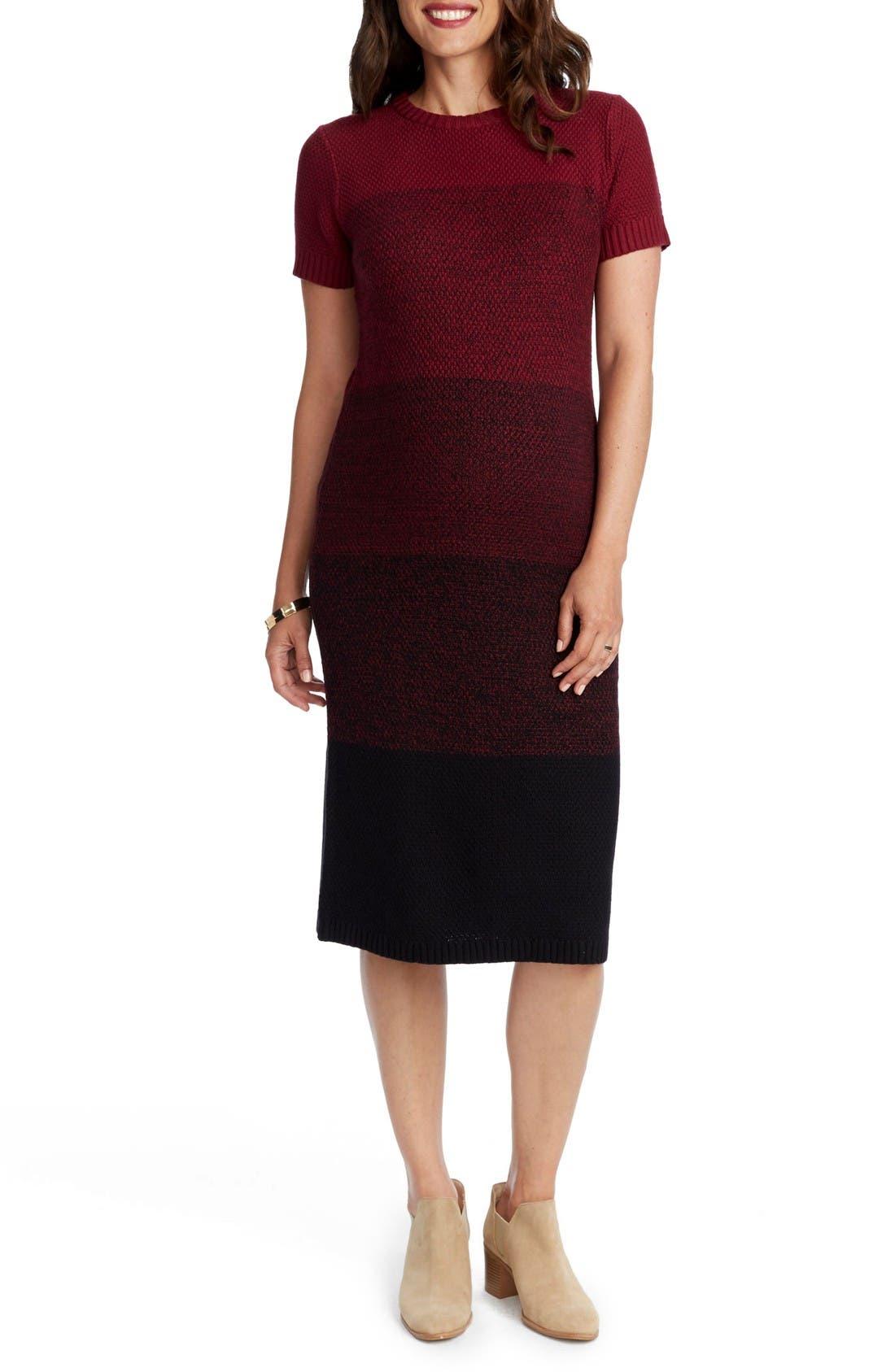 Daisy Ombré Maternity T-Shirt Dress,                             Main thumbnail 1, color,                             Burgundy Ombre