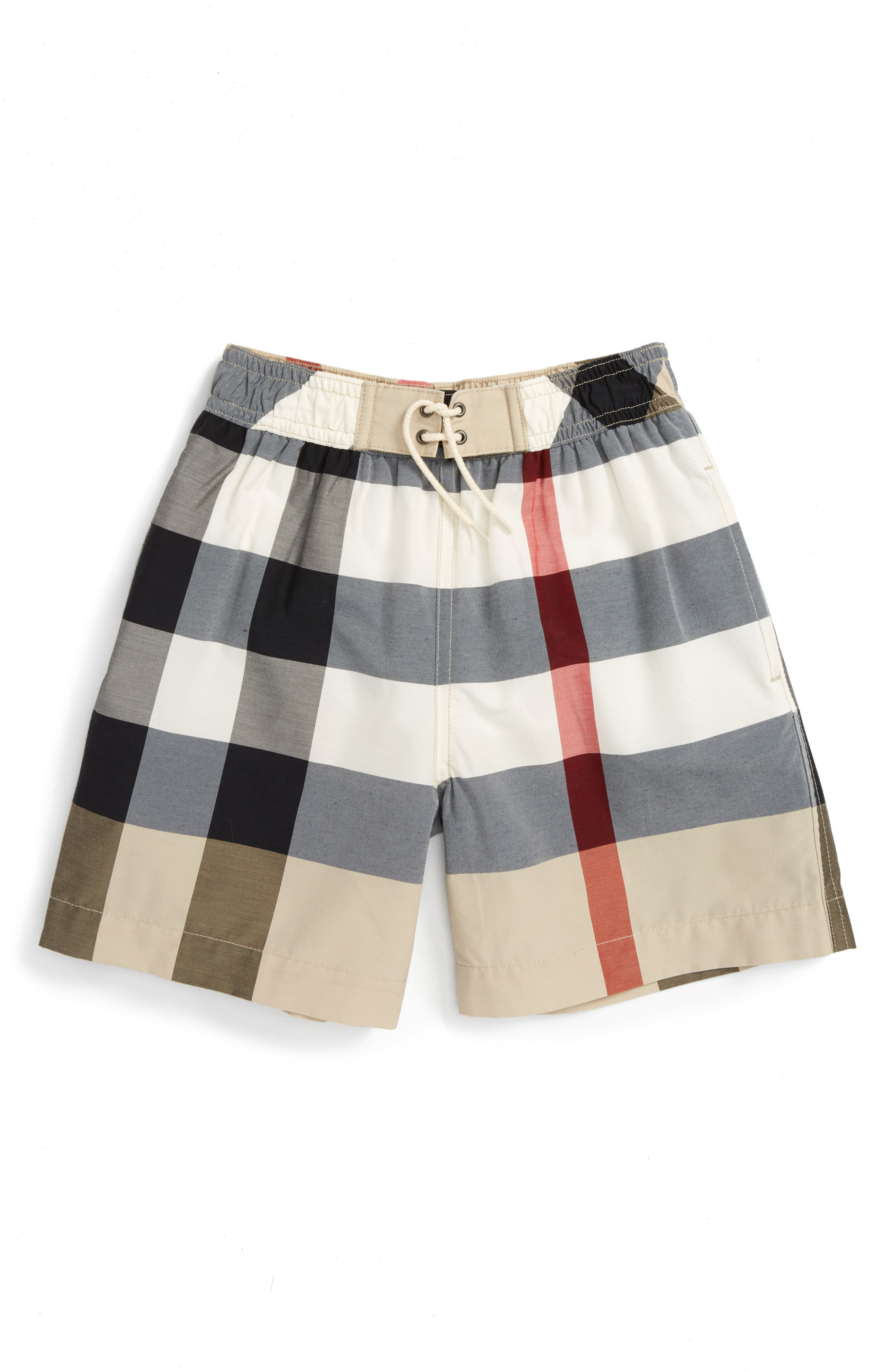 Alternate Image 1 Selected - Burberry Jeffries Check Swim Trunks (Little Boys & Big Boys)