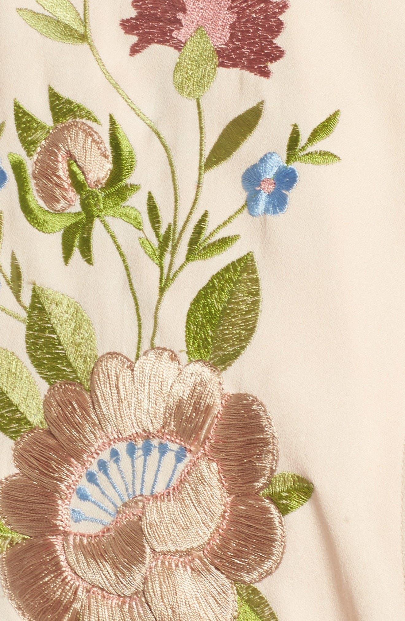 Alternate Image 5  - Glamorous Floral Embroidered Bomber Jacket