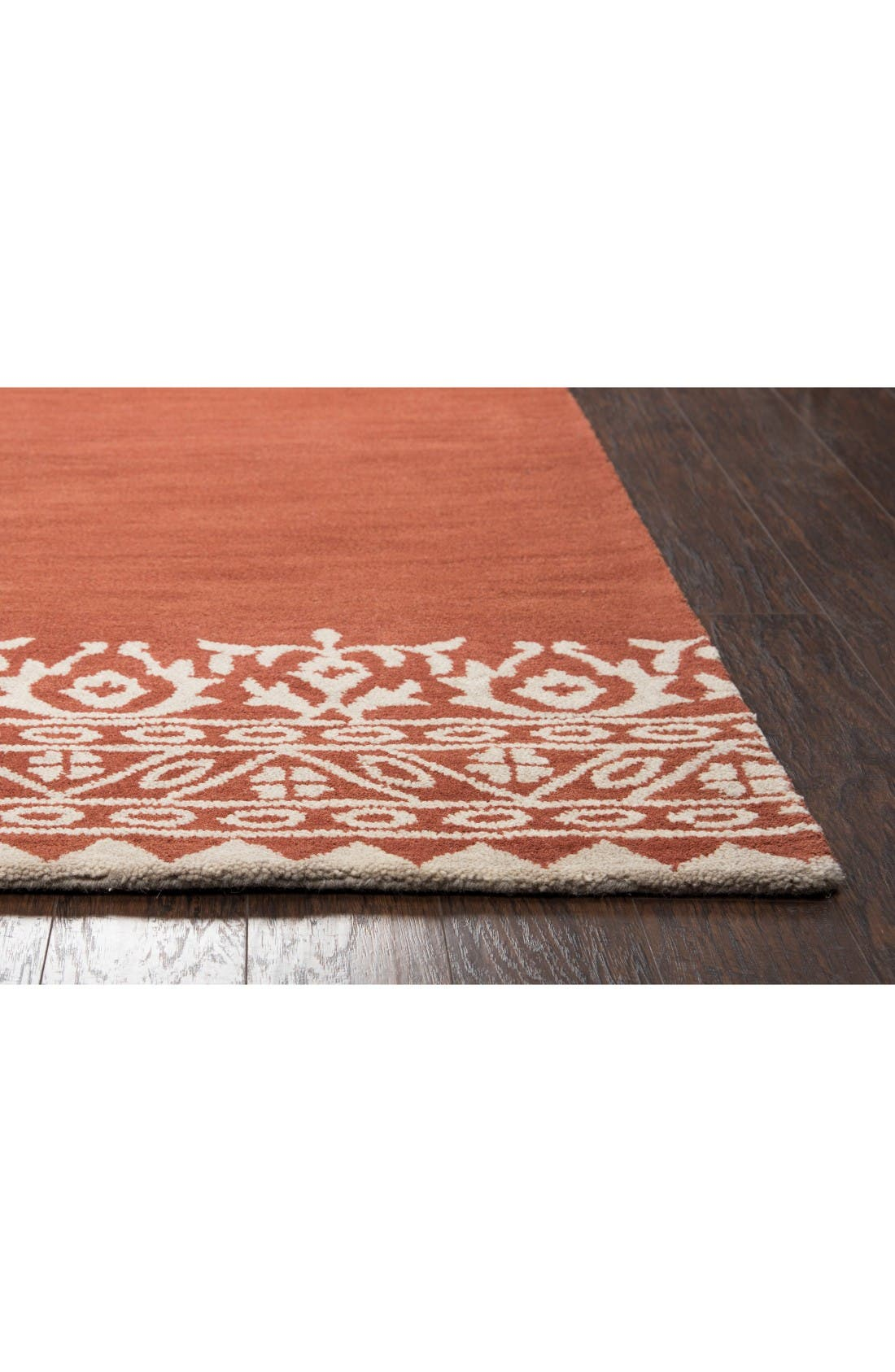 Framed Medallion Hand Tufted Wool Area Rug,                             Alternate thumbnail 2, color,                             Rust