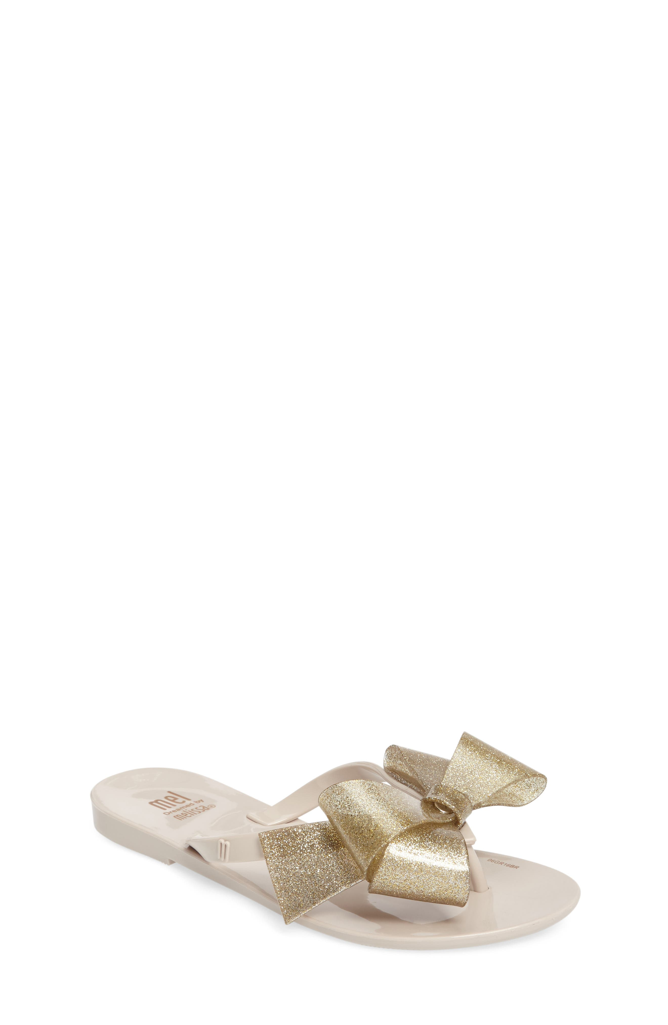 Harmonic Bow III Sandal,                         Main,                         color, Beige Gold Glitter