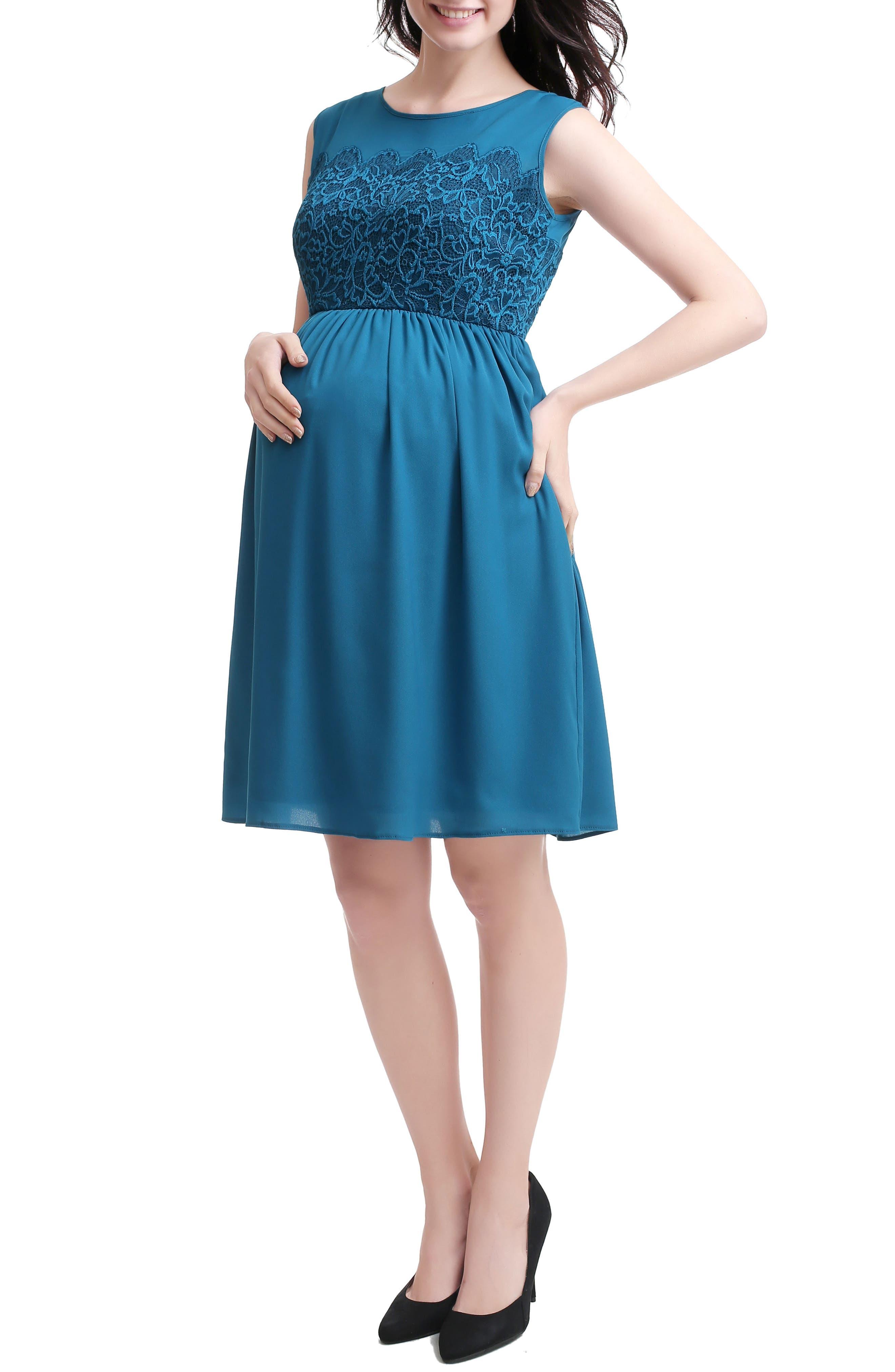 Sade Lace & Mesh Maternity Dress,                             Alternate thumbnail 2, color,                             Deep Sea