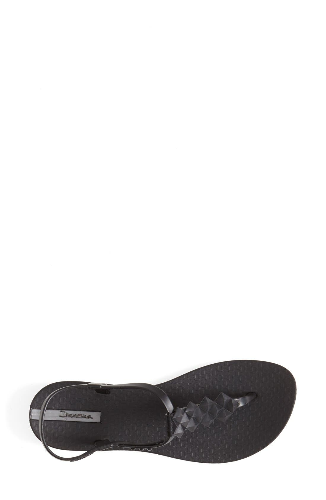 'Cleo' Pyramid Stud Ankle Strap Flip Flop,                             Alternate thumbnail 3, color,                             Black