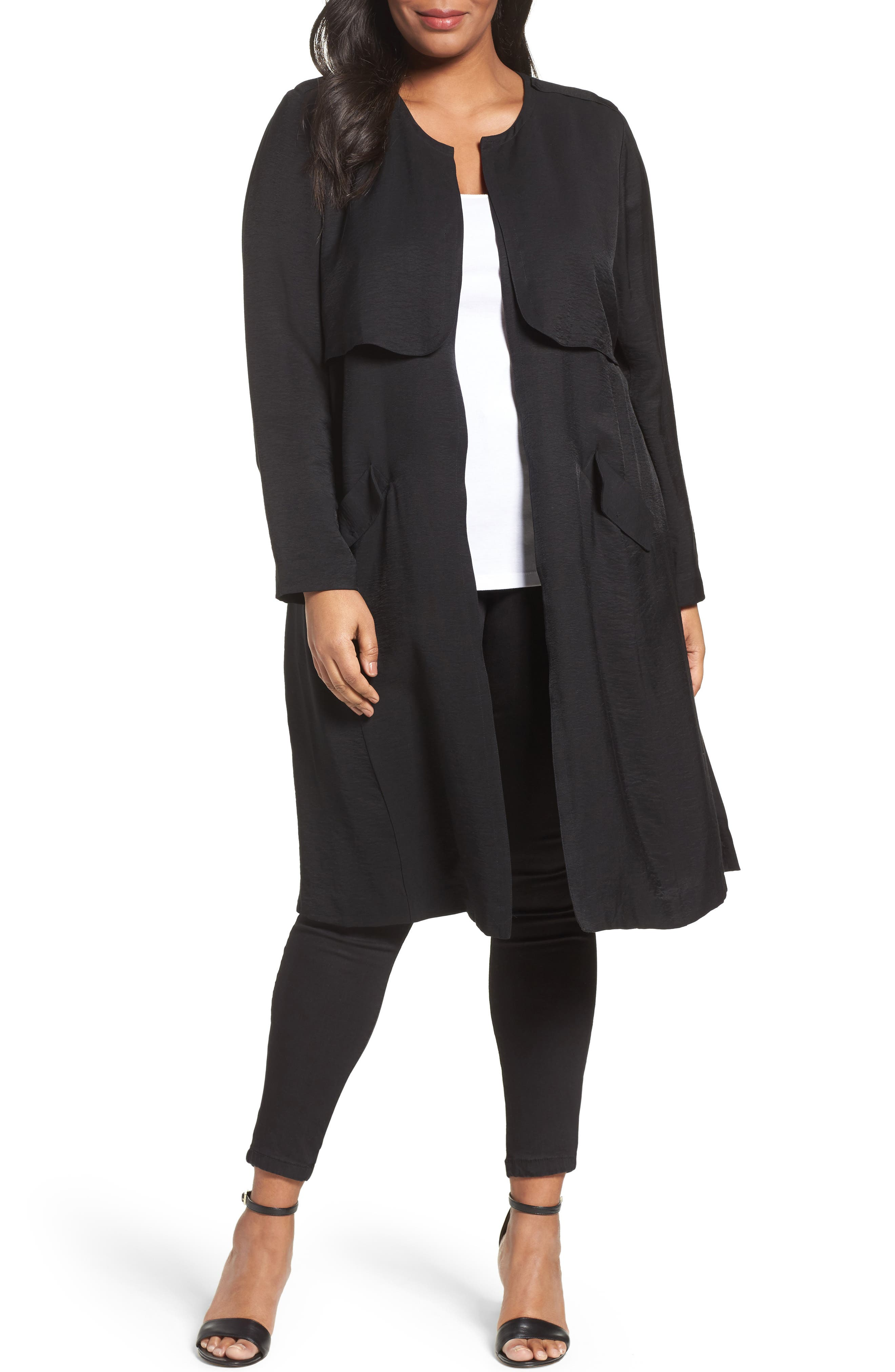 Alternate Image 1 Selected - Sejour Long Open Front Trench Coat (Plus Size)
