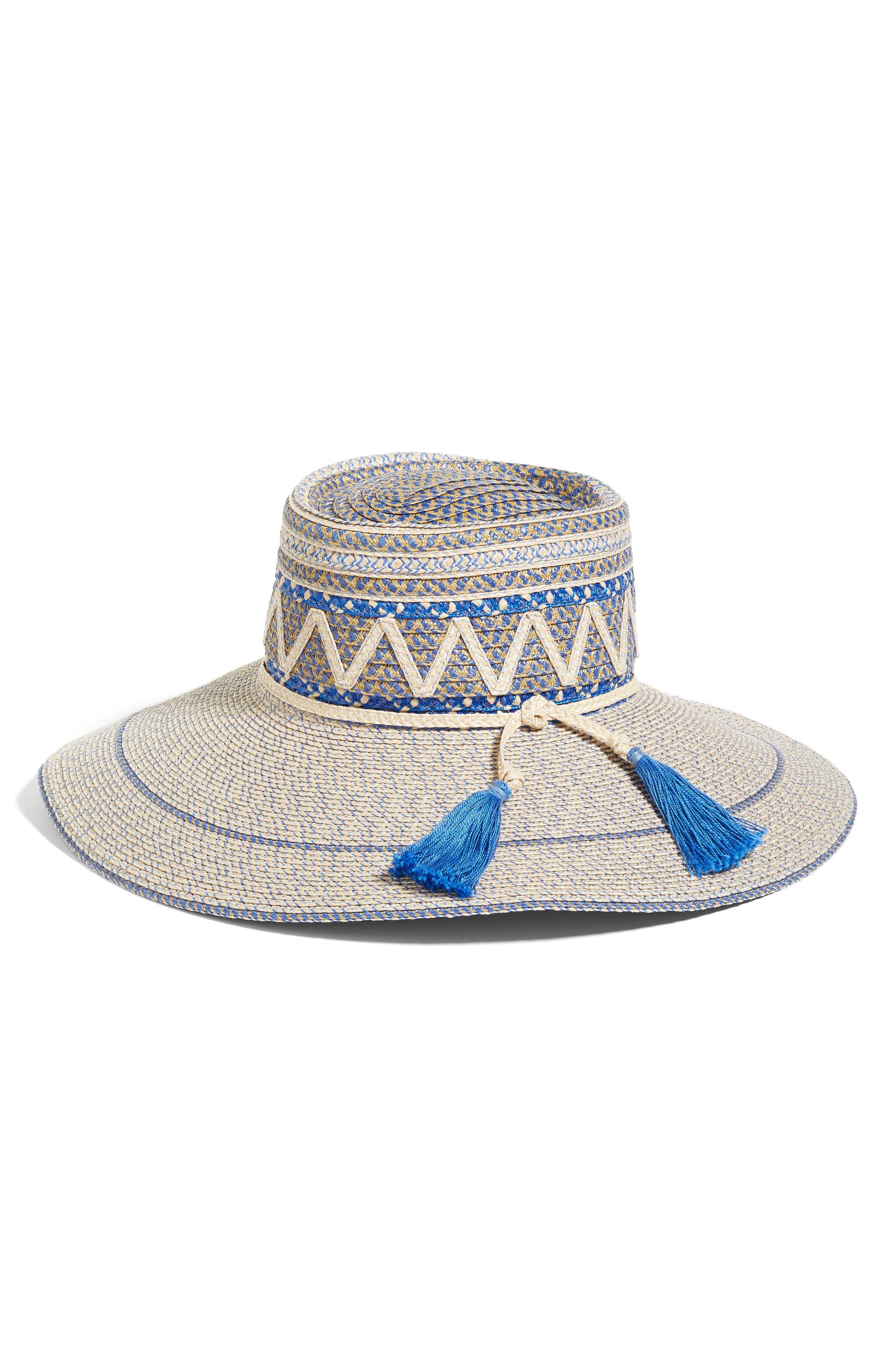 Palermo Squishee<sup>®</sup> Wide Brim Hat,                         Main,                         color, Cream/ Blue Tweed