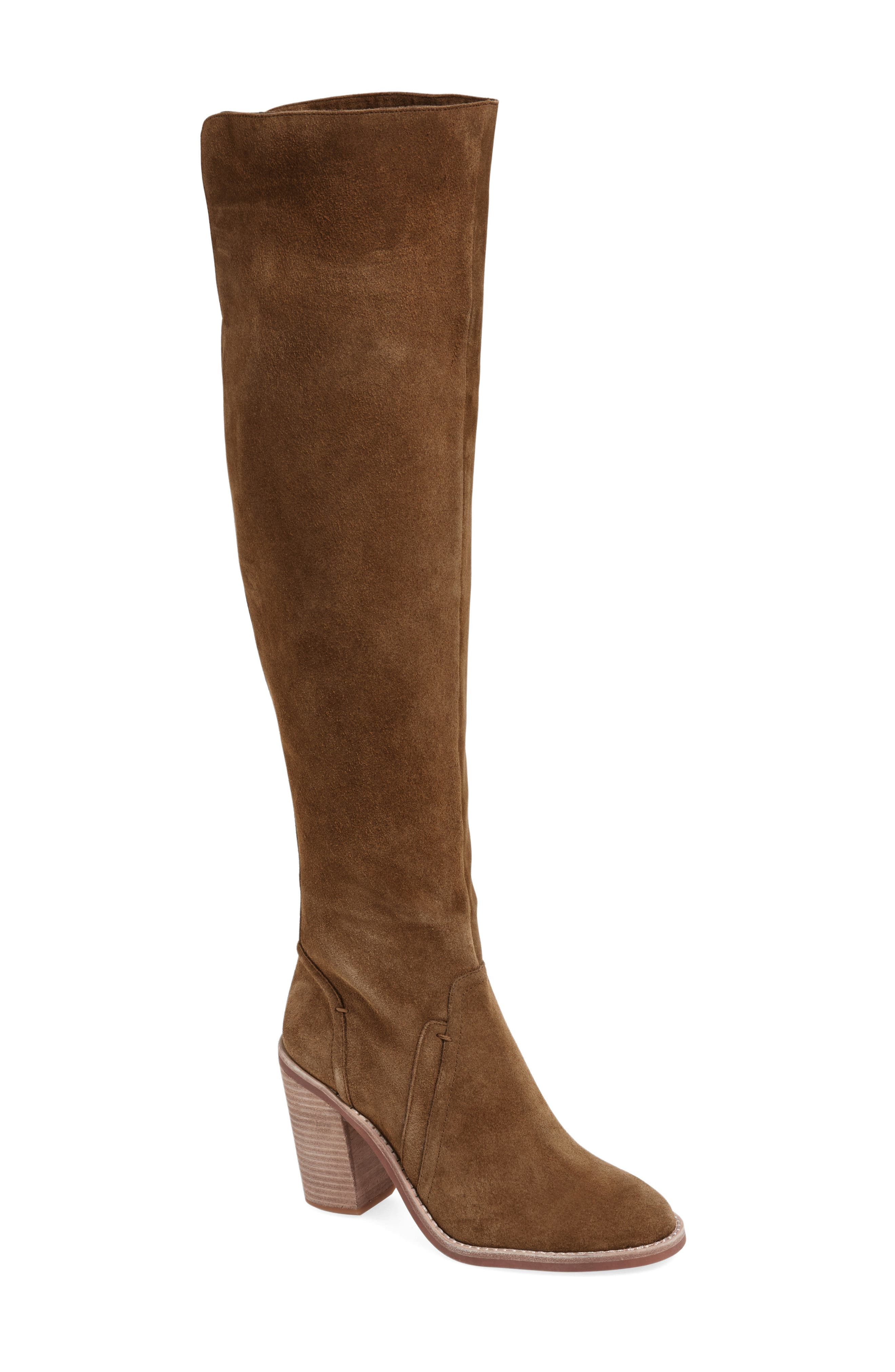'Melaya' Over the Knee Boot,                         Main,                         color, Bark Verona Suede