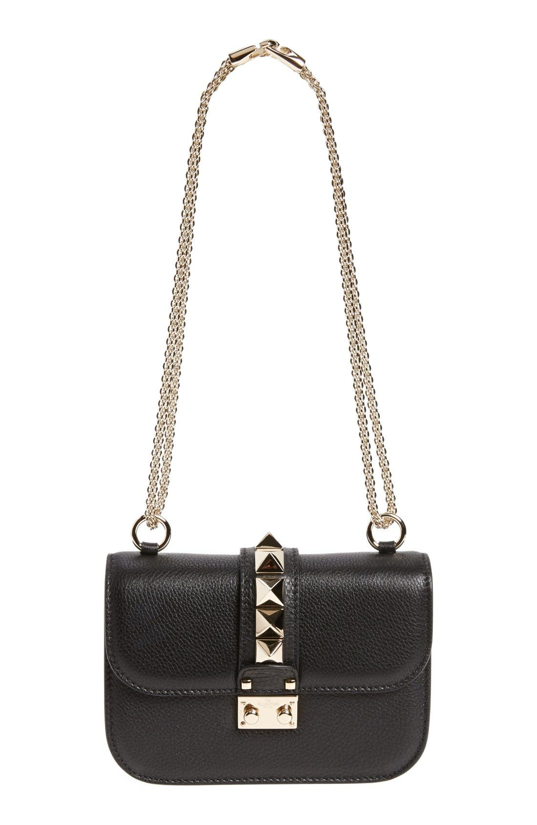 Rockstud - Small Lock Leather Crossbody Bag,                             Main thumbnail 1, color,                             Nero