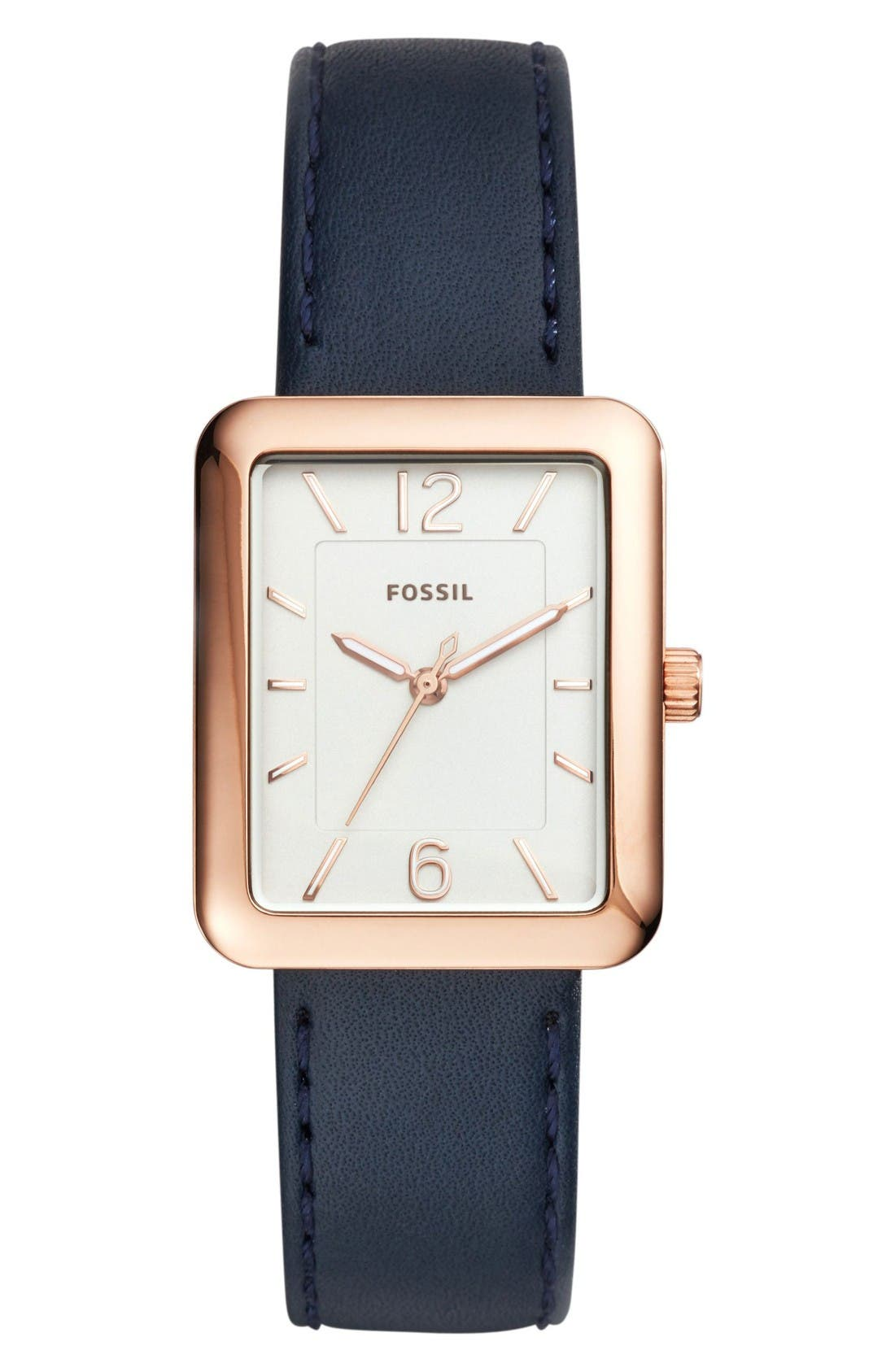 Atwater Leather Strap Watch, 28mm,                         Main,                         color, Blue/ Silver/ Rose Gold