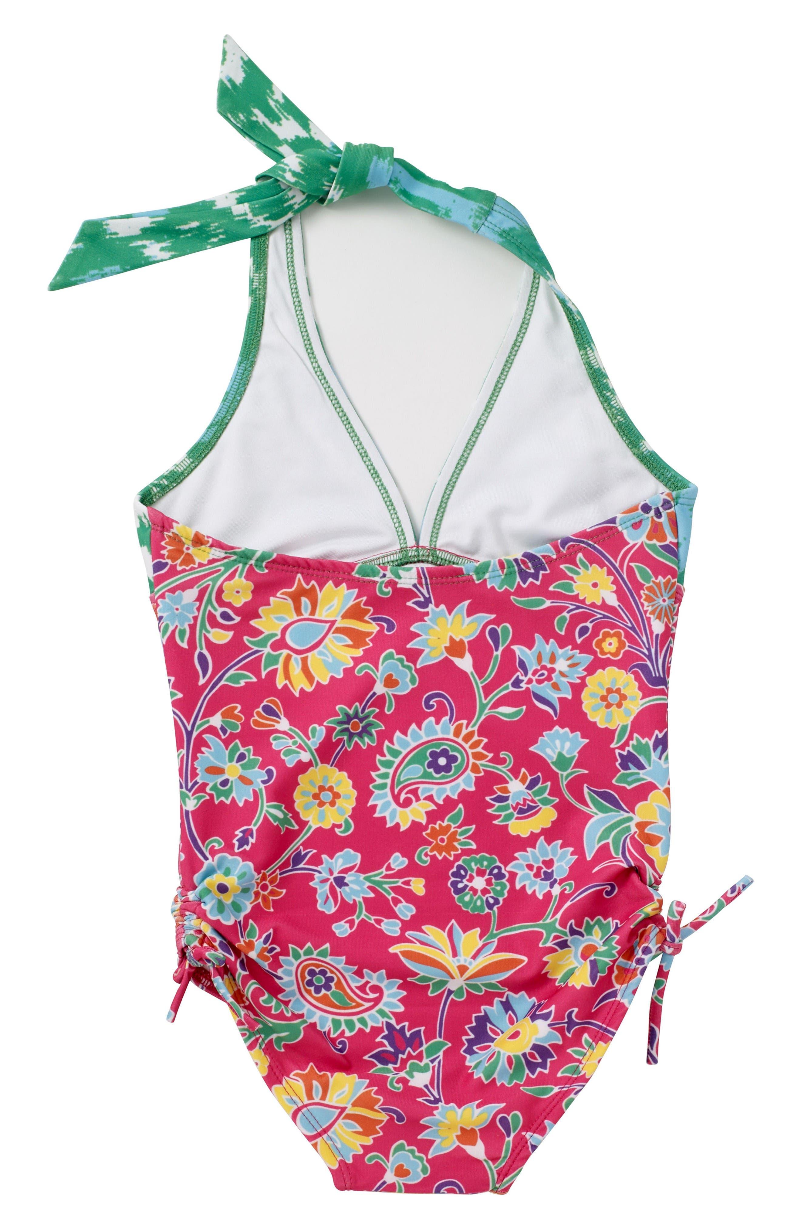 Alternate Image 4  - Masalababy One-Piece Halter Swimsuit (Toddler Girls, Little Girls & Big Girls)