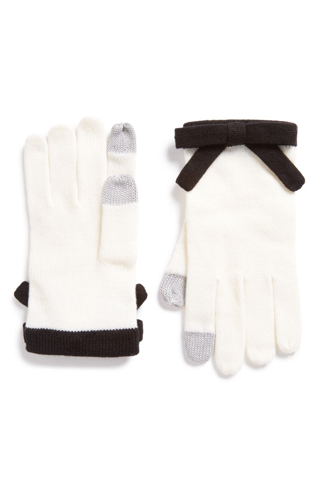 contrast bow tech friendly gloves,                             Main thumbnail 1, color,                             Cream/ Black