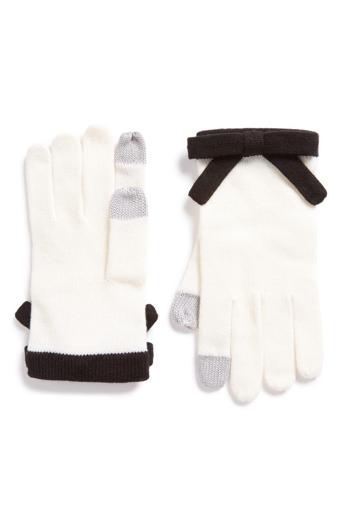 contrast bow tech friendly gloves,                         Main,                         color, Cream/ Black
