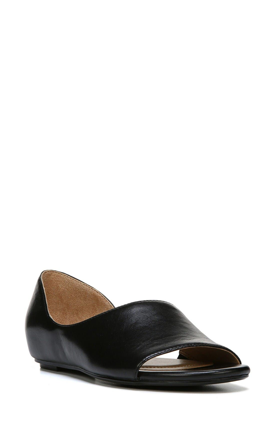 Lucie Half d'Orsay Flat,                         Main,                         color, Black Leather