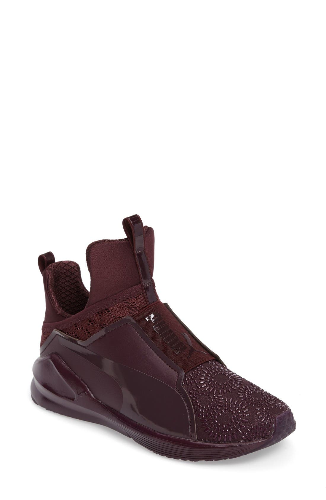 Fierce KRM High Top Sneaker,                             Main thumbnail 1, color,                             Red Plum