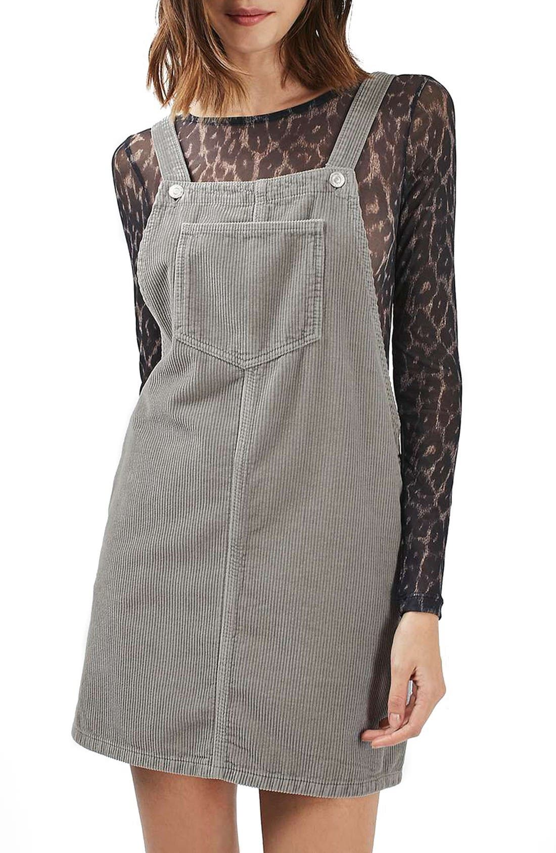 Main Image - Topshop Moto Corduroy Pinafore Dress