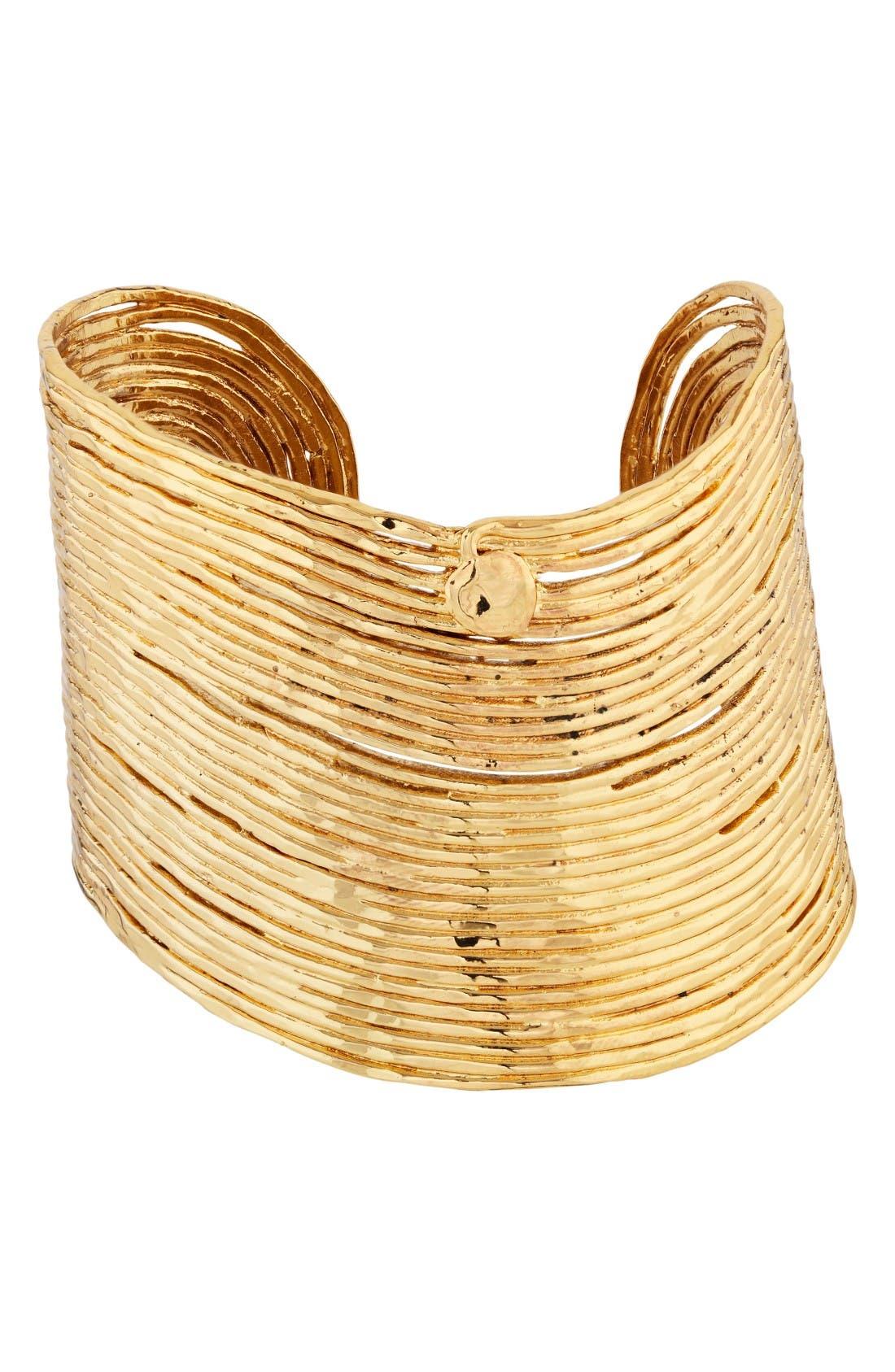 Wave Cuff,                         Main,                         color, Gold