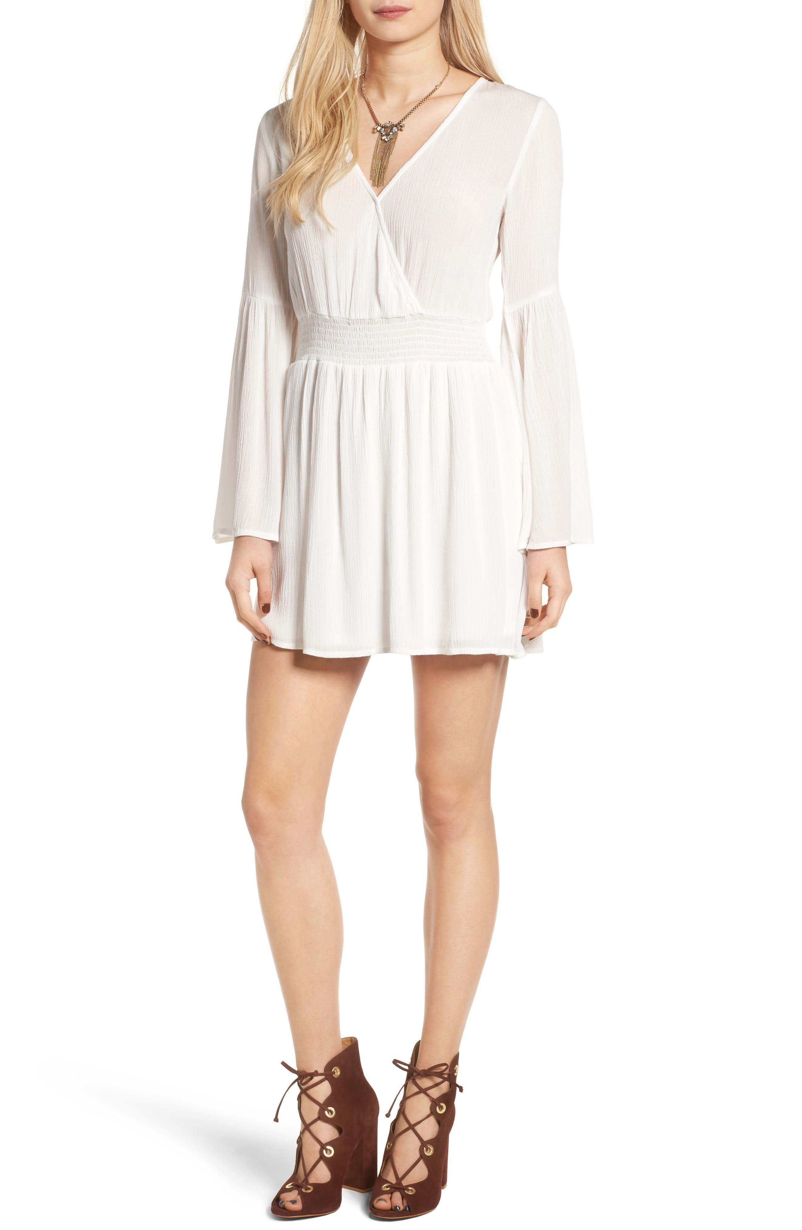 Surplice Bell Sleeve Dress,                             Main thumbnail 1, color,                             Ivory