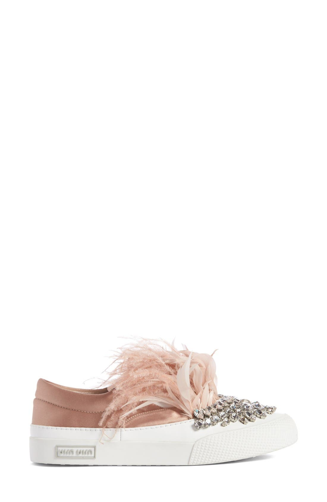 Alternate Image 3  - Miu Miu Embellished Feather Slip-On Sneaker (Women)