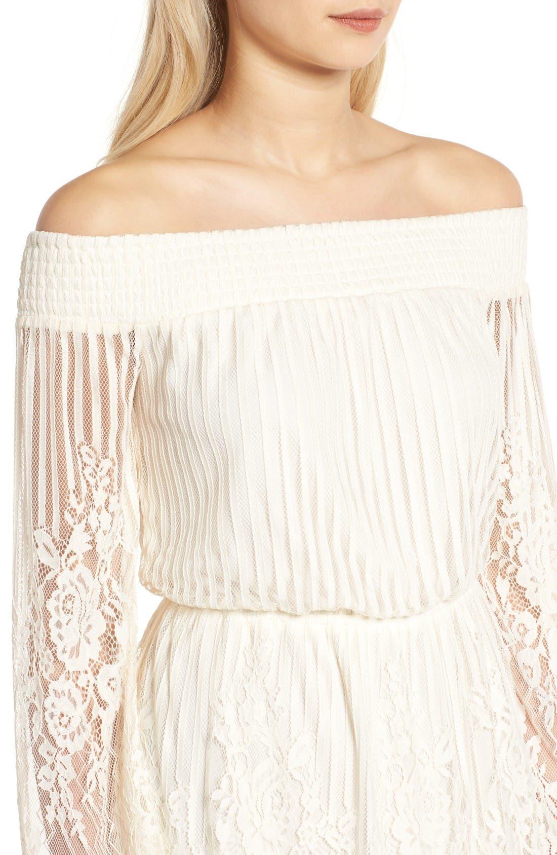 Alternate Image 4  - Trixxi Stripe Lace Off the Shoulder Dress