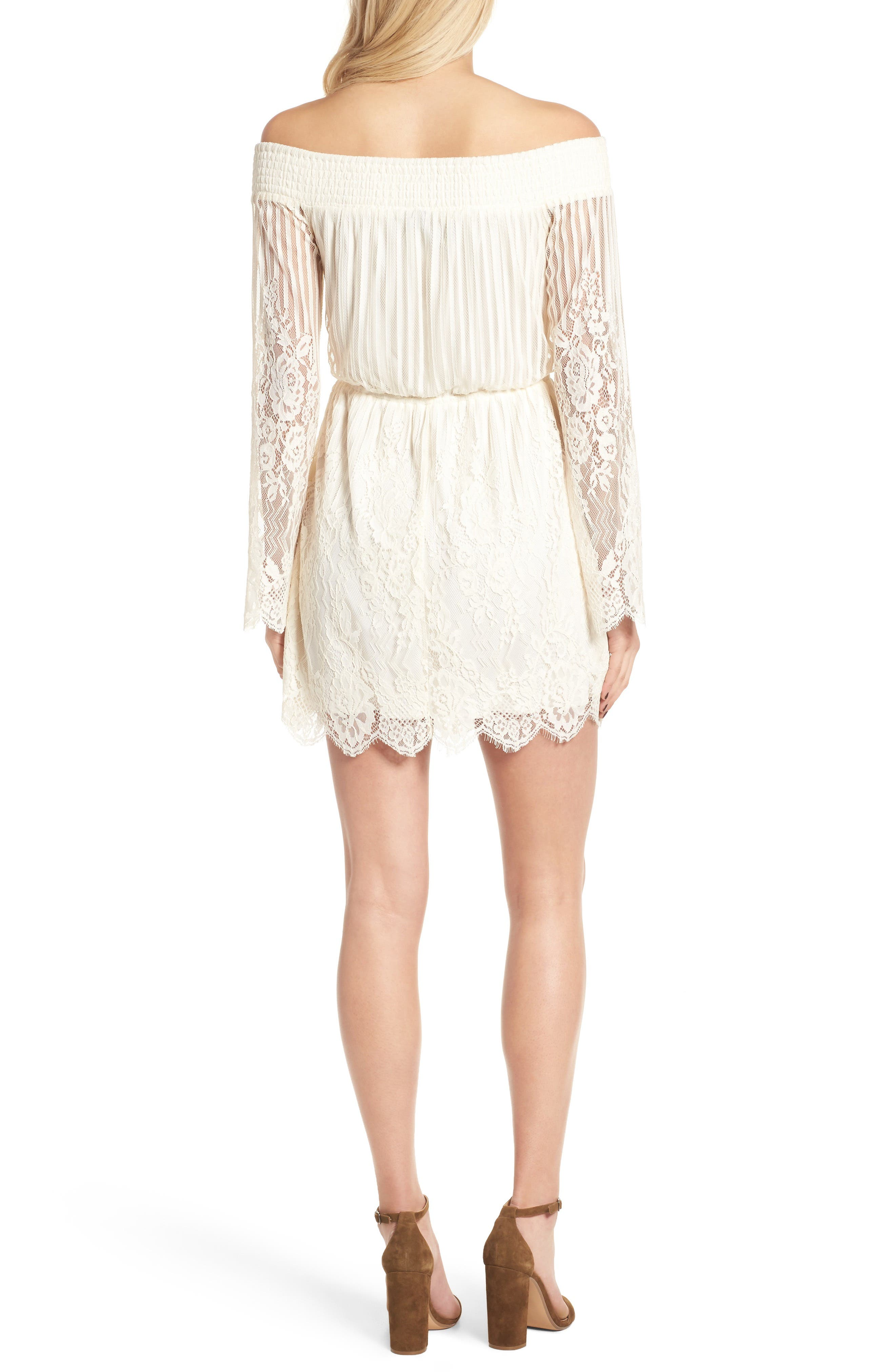 Alternate Image 2  - Trixxi Stripe Lace Off the Shoulder Dress