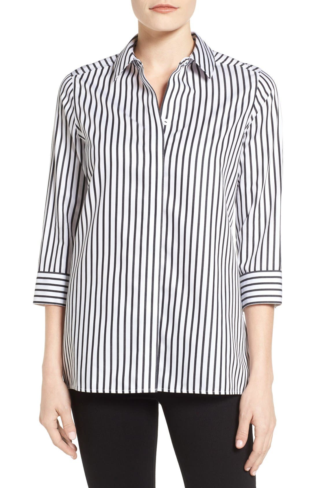Alternate Image 1 Selected - Foxcroft Gigi Non-Iron Stripe Sateen Tunic Shirt