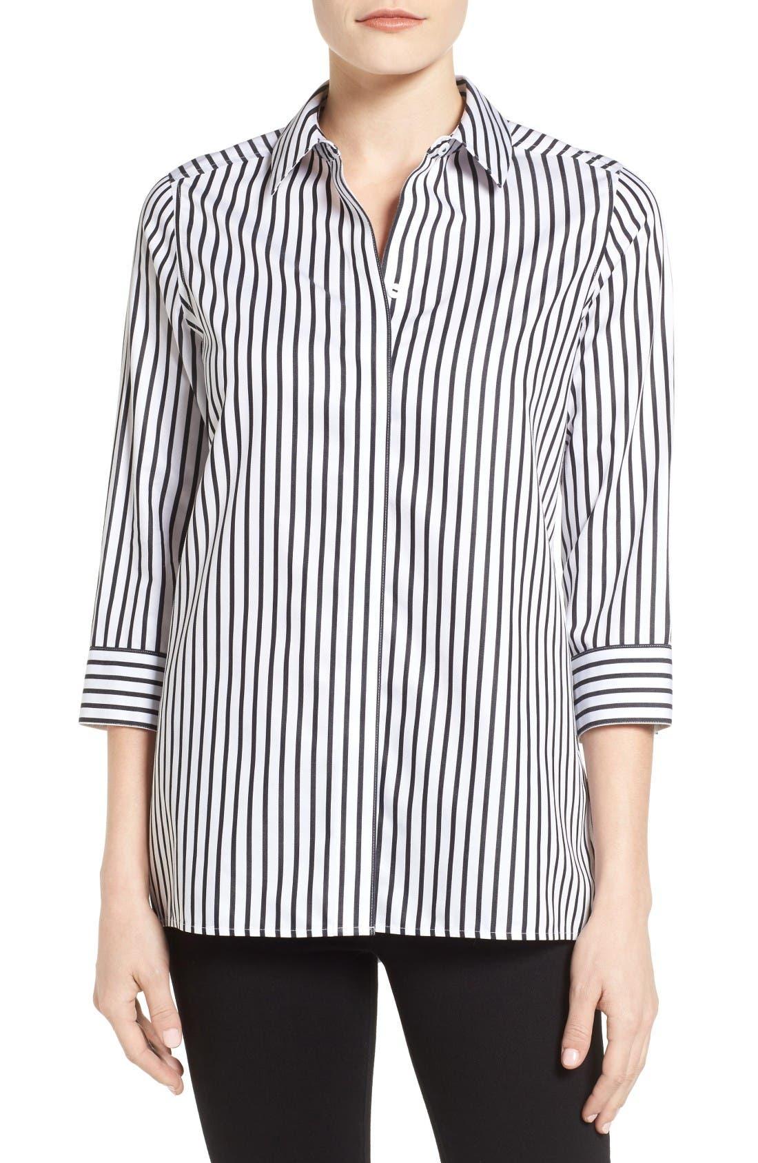 Main Image - Foxcroft Gigi Non-Iron Stripe Sateen Tunic Shirt