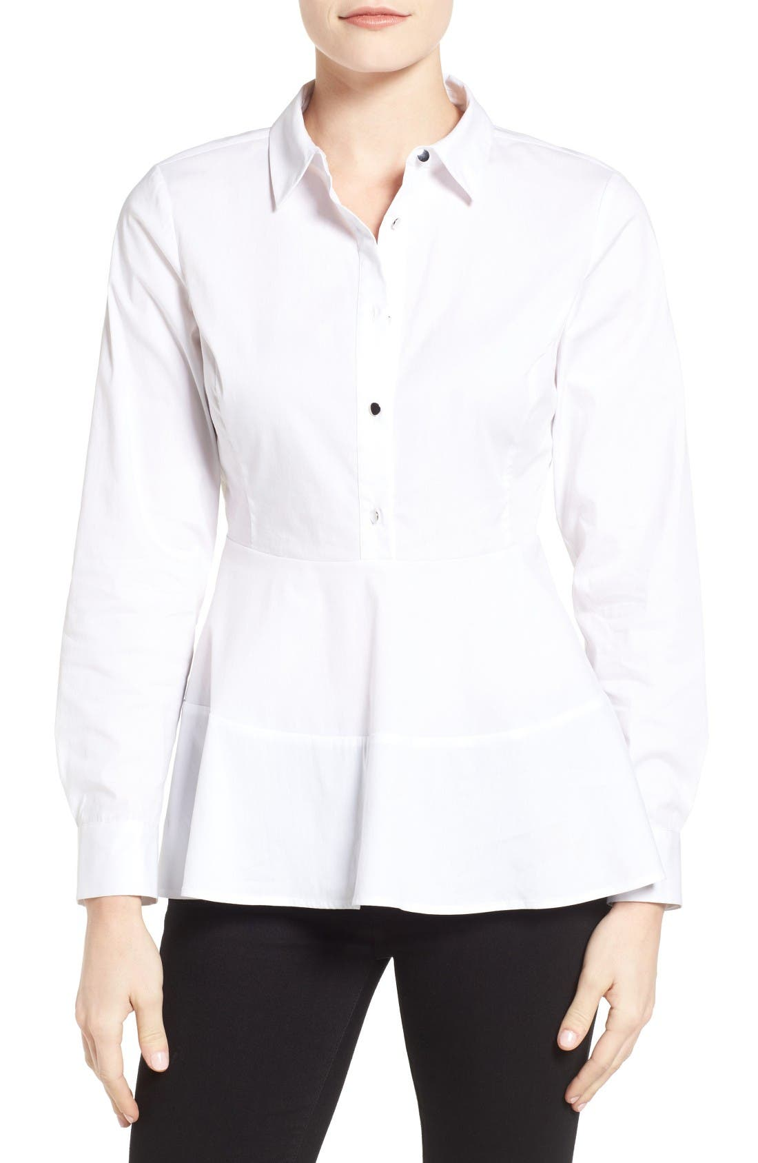 Alternate Image 1 Selected - Ivanka Trump Peplum Hem Poplin Shirt