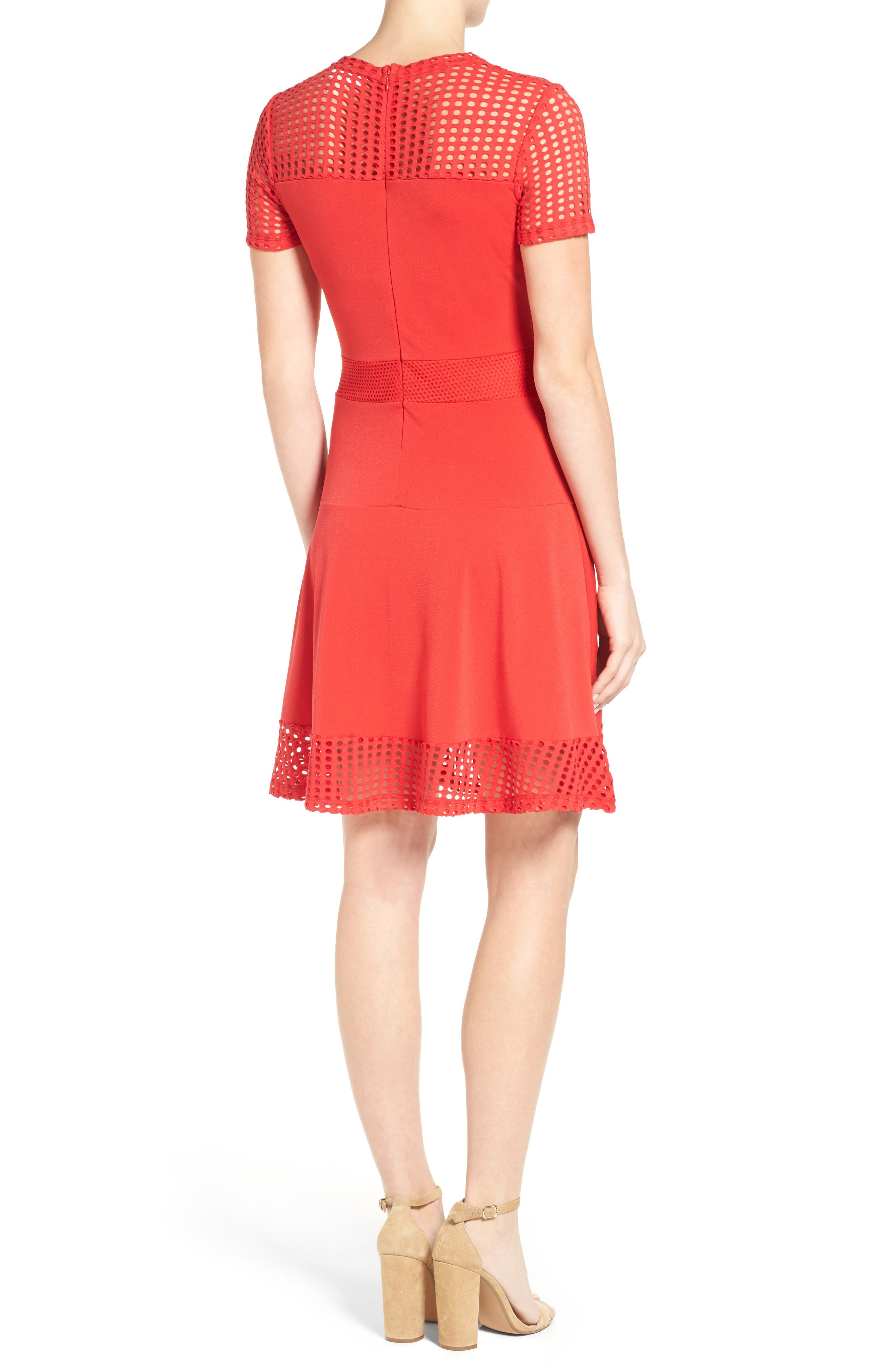 Mesh Combo Fit & Flare Dress,                             Alternate thumbnail 2, color,                             True Red