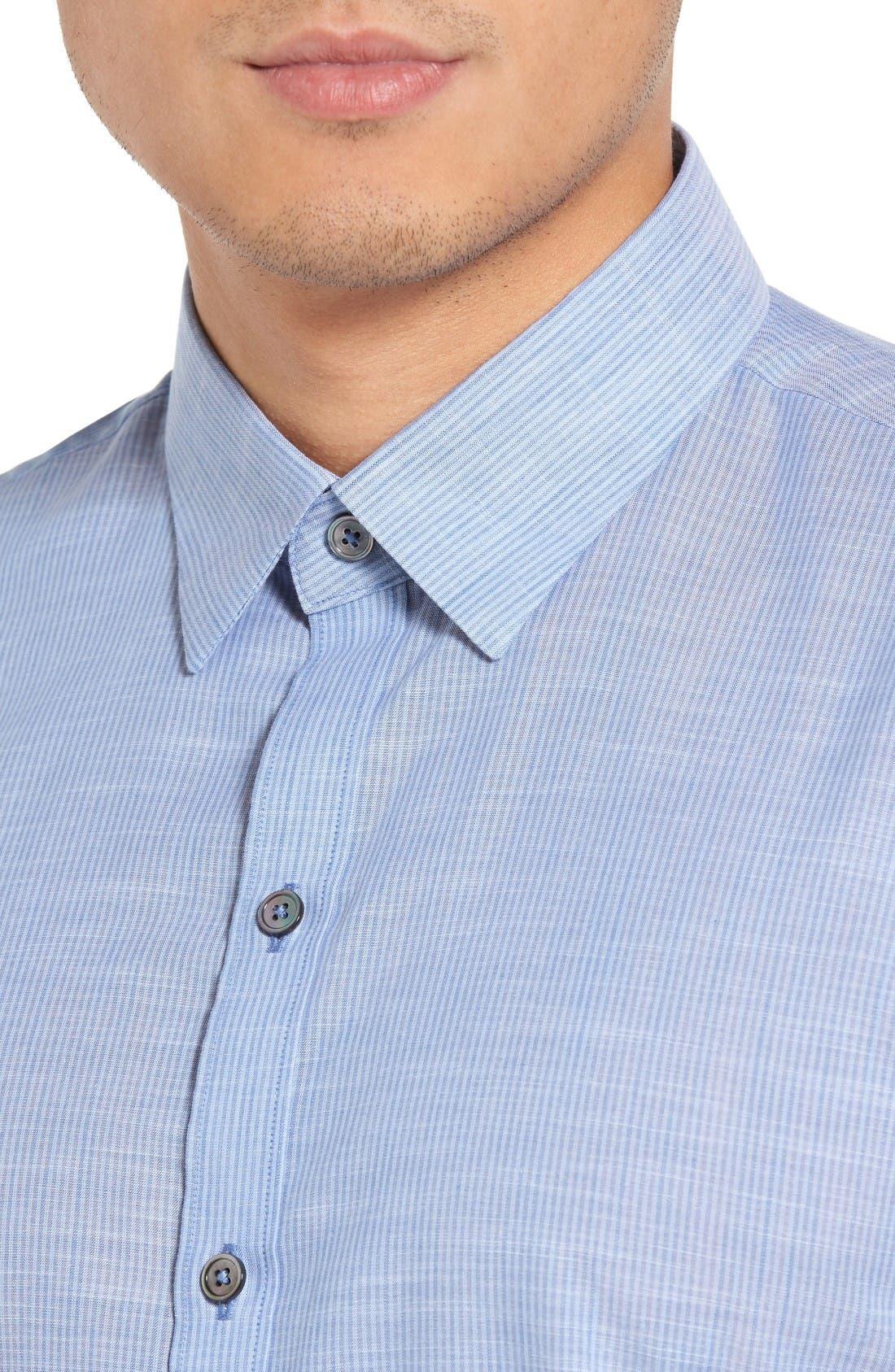 Alternate Image 4  - Zachary Prell Ronan Trim Fit Stripe Sport Shirt