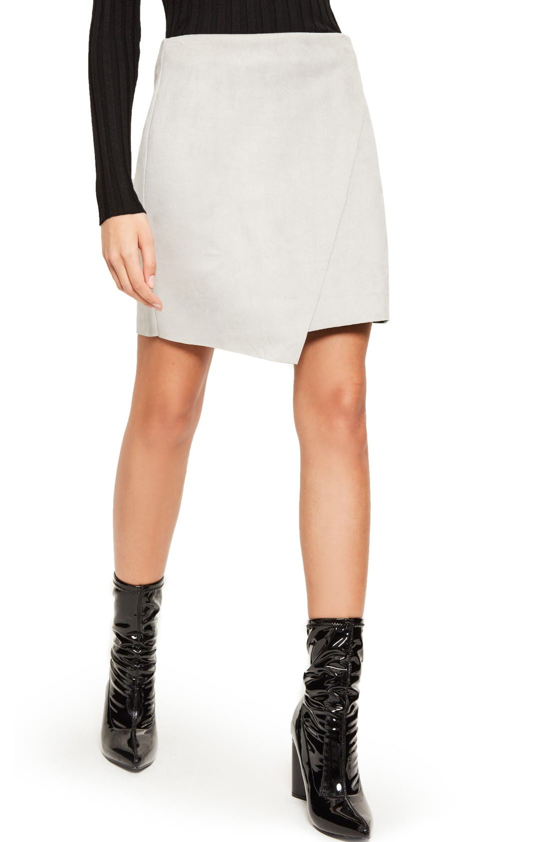 Faux Suede Miniskirt,                             Alternate thumbnail 3, color,                             Grey