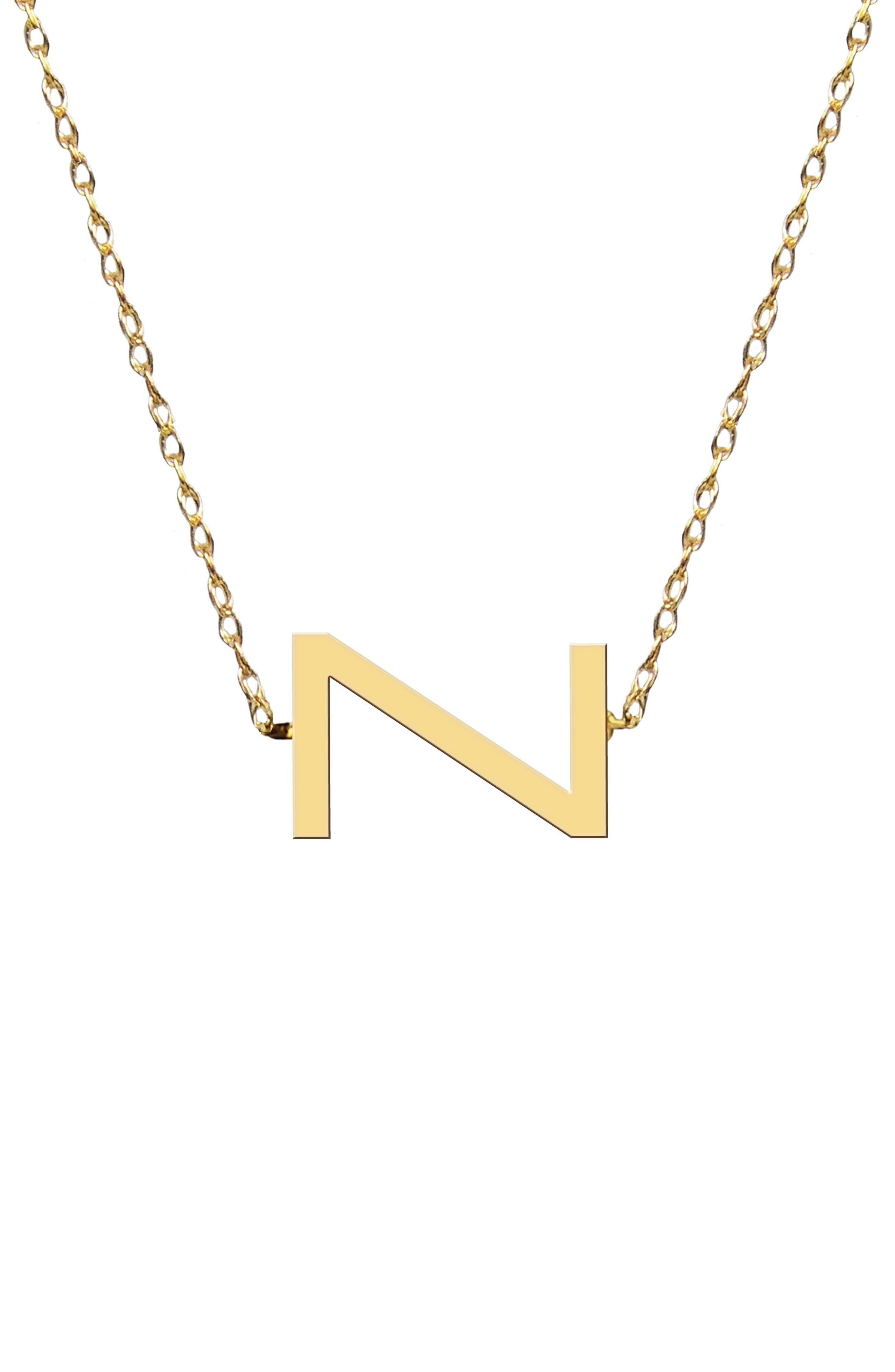 Sideways Block Initial Pendant Necklace,                         Main,                         color, Gold-Z