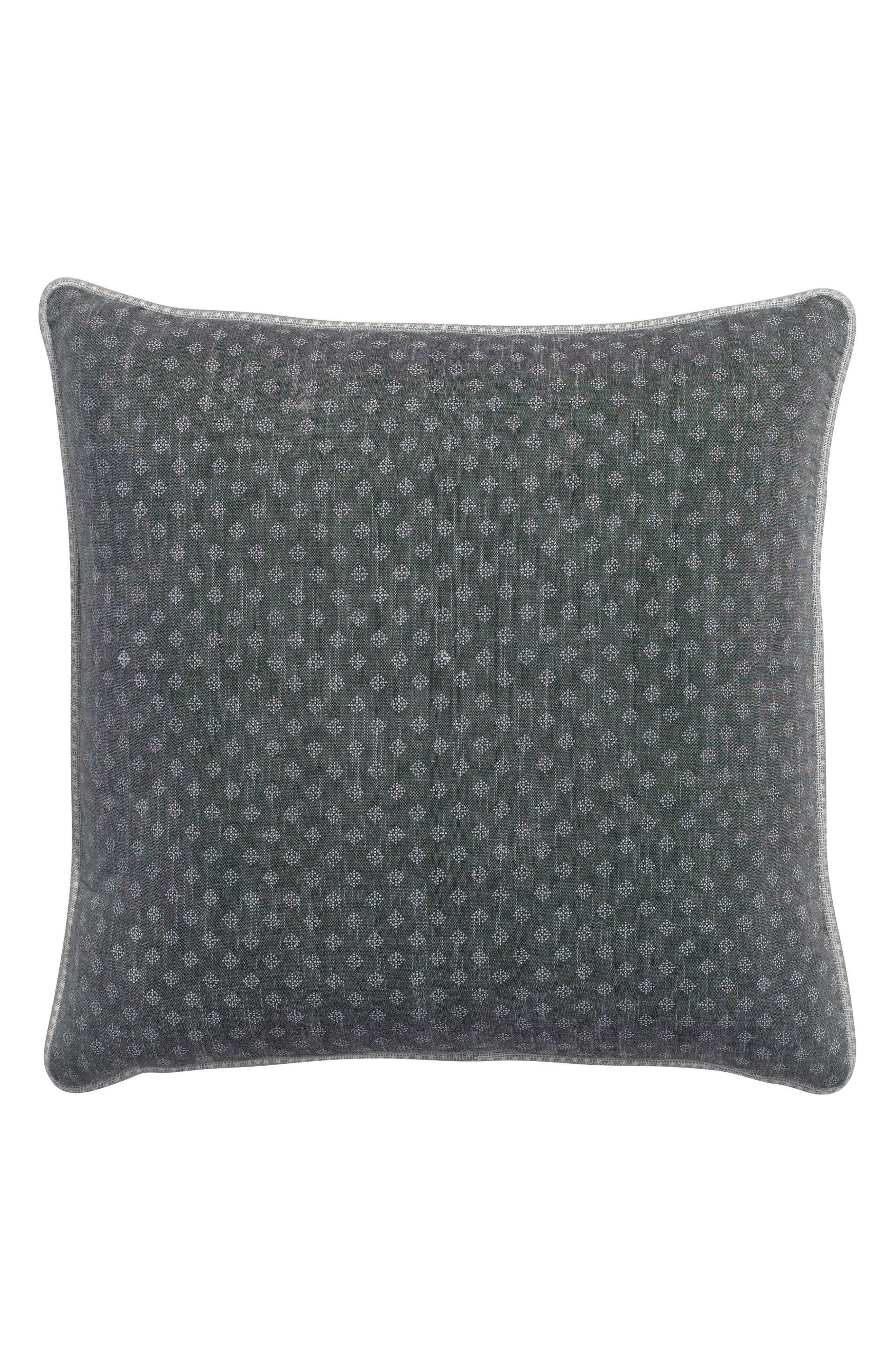 Park Ave Square Printed Dot Organic Cotton Accent Pillow,                             Main thumbnail 1, color,                             Dark Grey