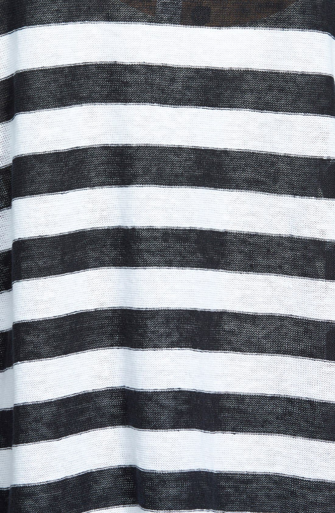 Ballet Neck Stripe Organic Linen Top,                             Main thumbnail 1, color,                             Black/ White