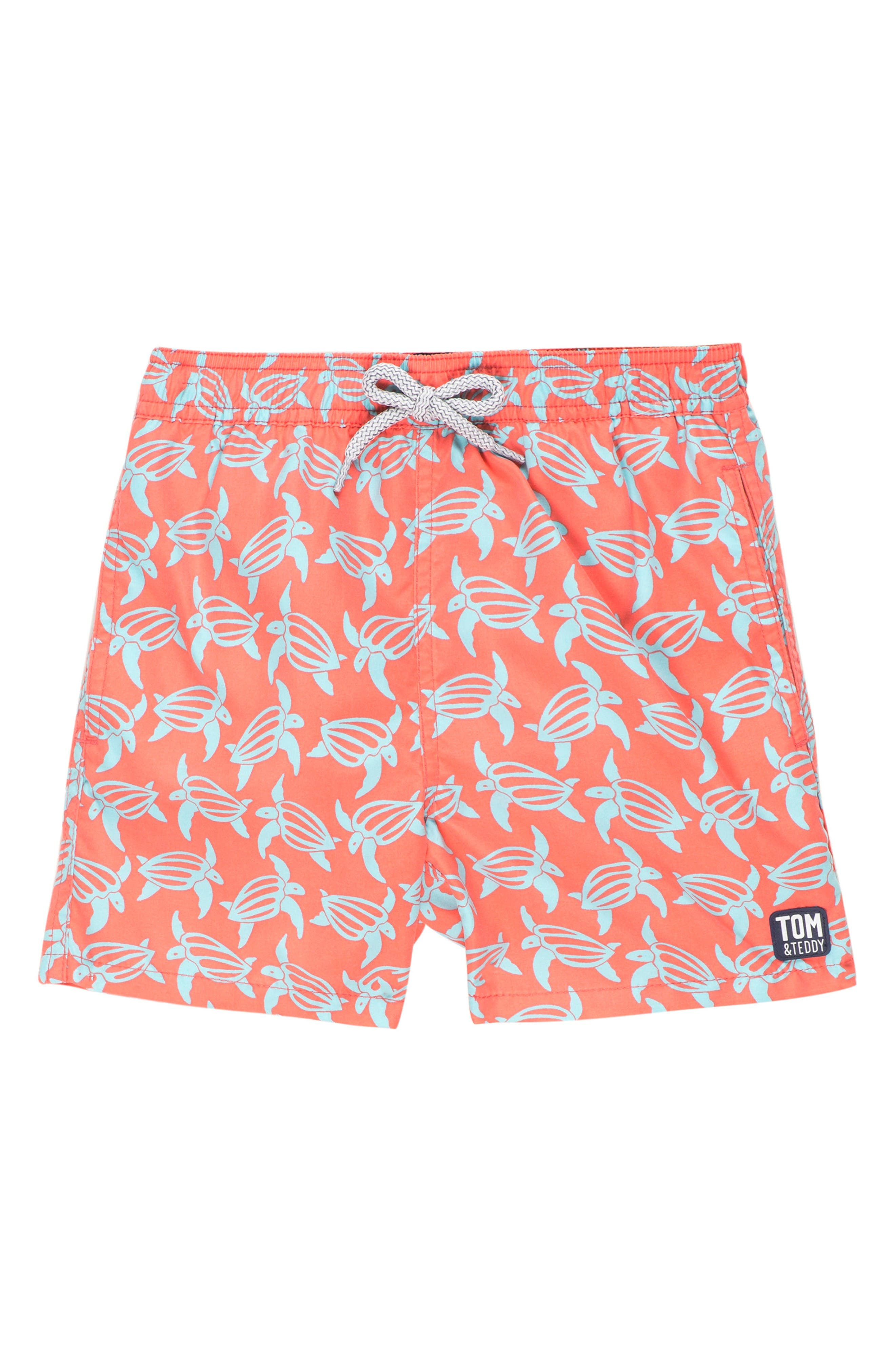 Tom & Teddy Turtle Swim Trunks (Toddler Boys, Little Boys & Big Boys)