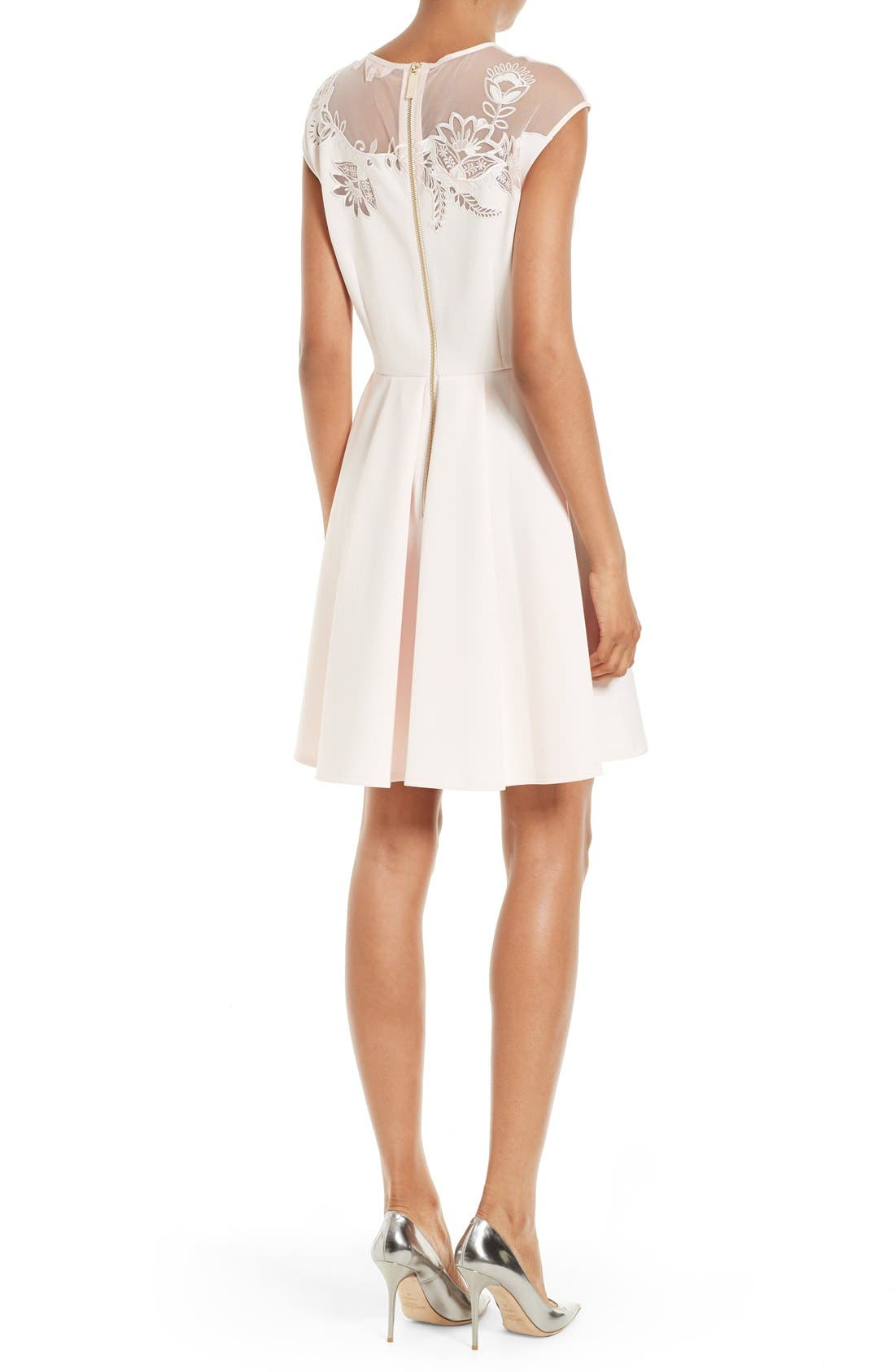 Alternate Image 2  - Ted Baker London Dollii Embroidered Illusion Fit & Flare Dress