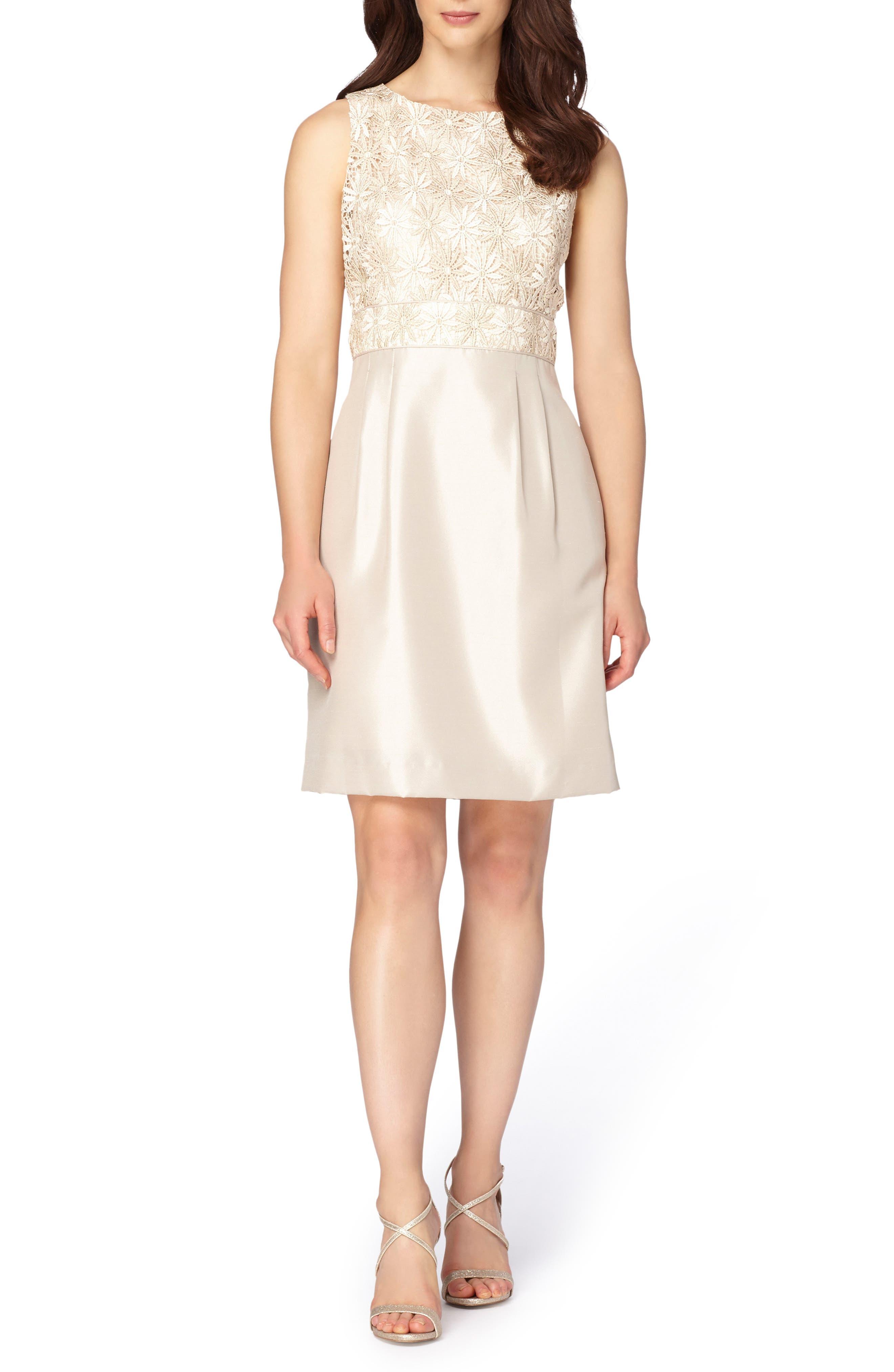 Tahari Mixed Media A-Line Dress (Regular & Petite)