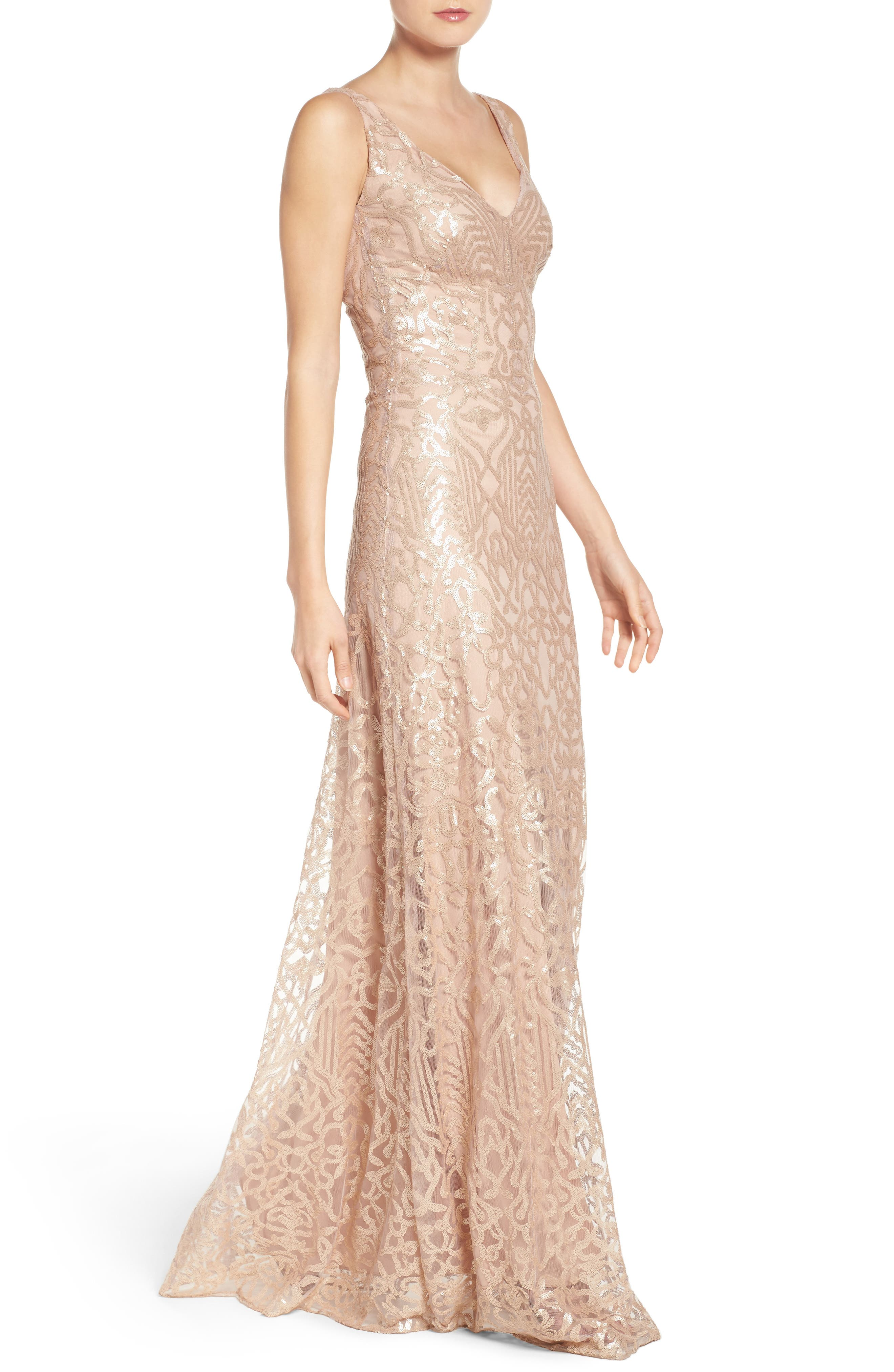 Alternate Image 4  - WTOO Sequin Embroidered A-Line Gown