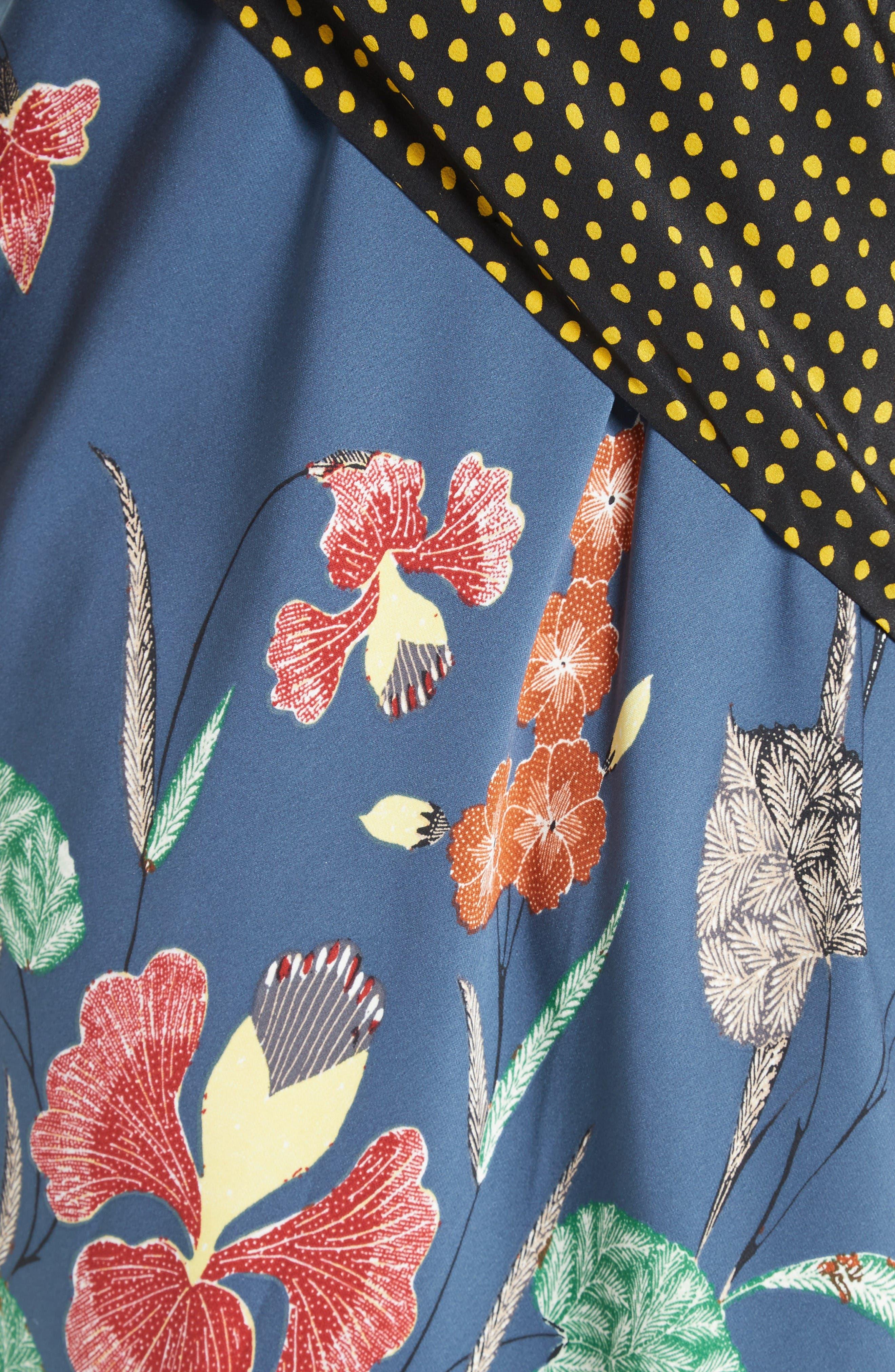 Faux Wrap Silk Maxi Dress,                             Alternate thumbnail 5, color,                             Ferma Blue