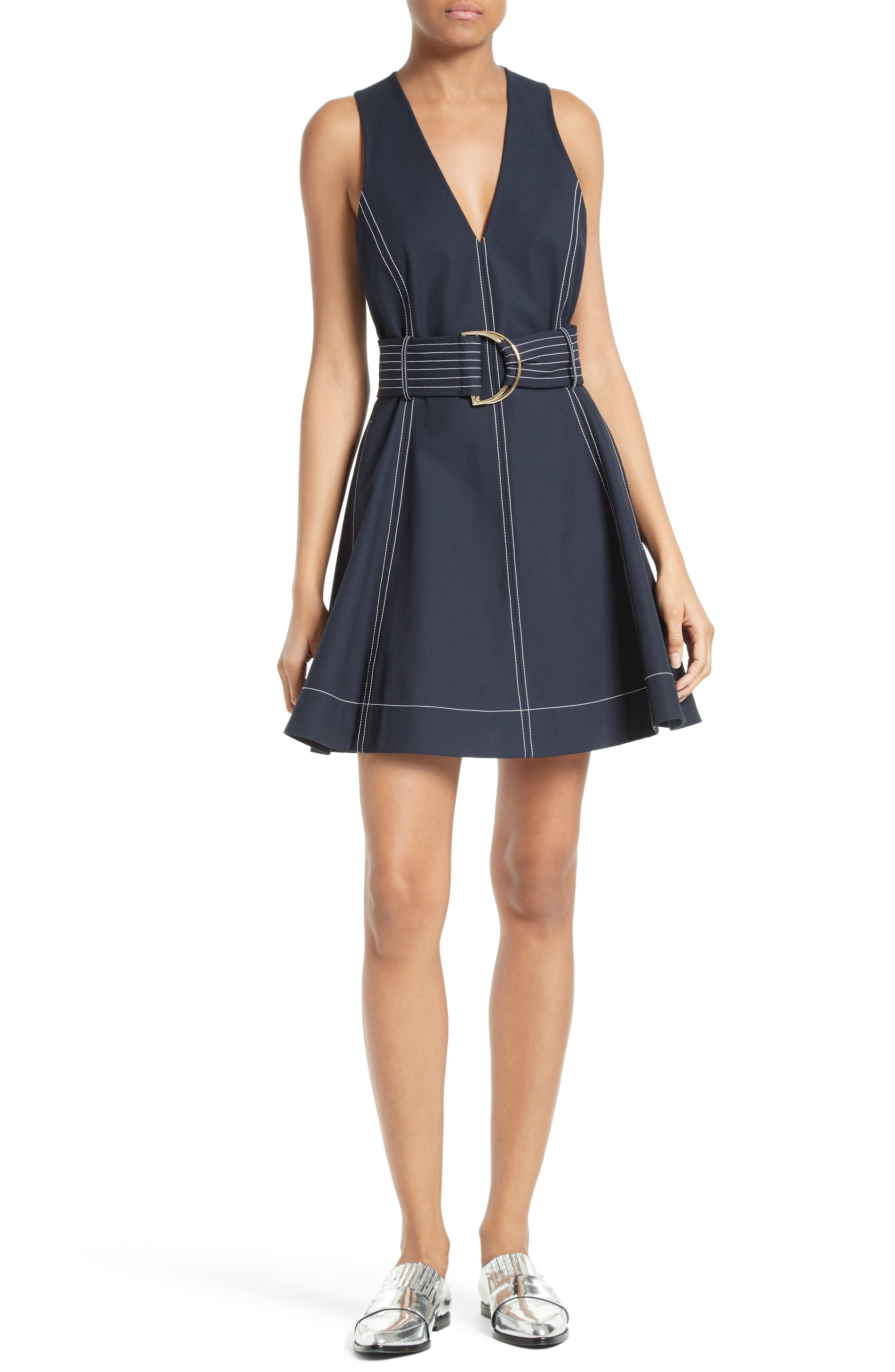 Fit & Flare Dress,                             Main thumbnail 1, color,                             Alexander Navy