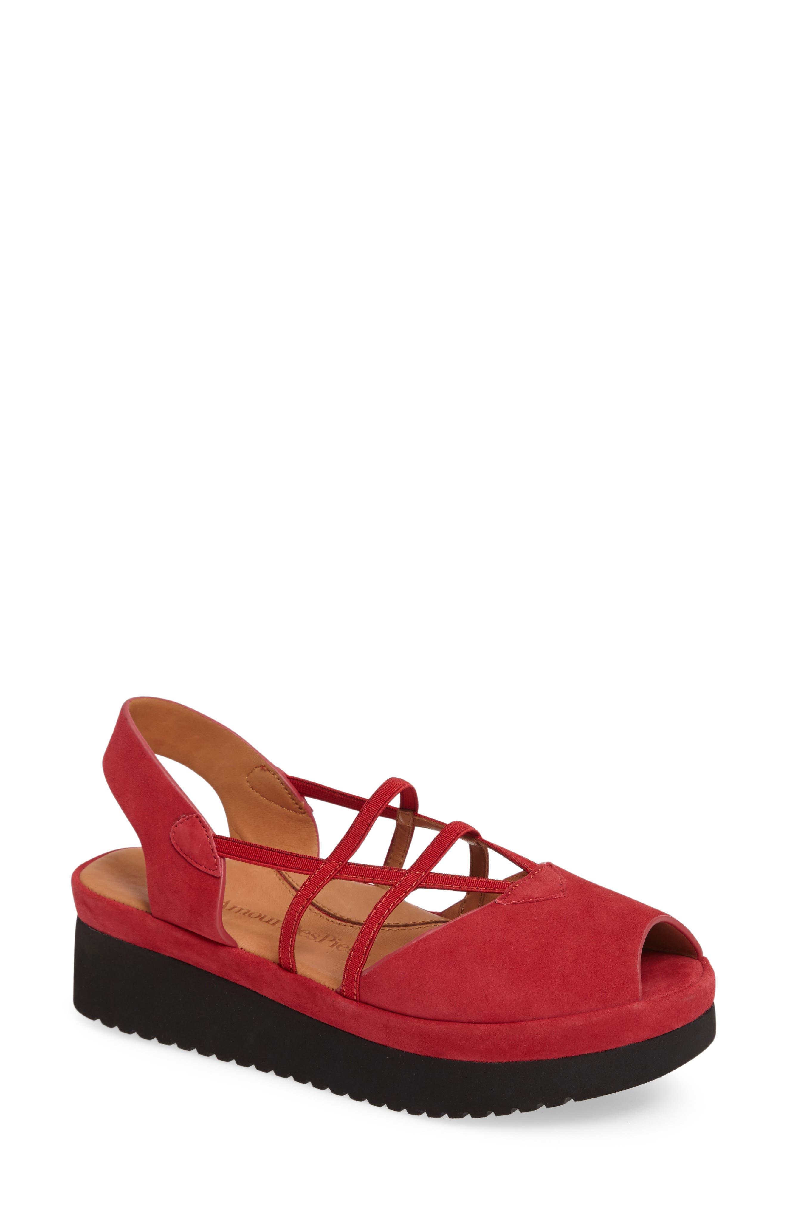Adelais Platform Wedge Sandal,                             Main thumbnail 1, color,                             Red Nubuck Leather