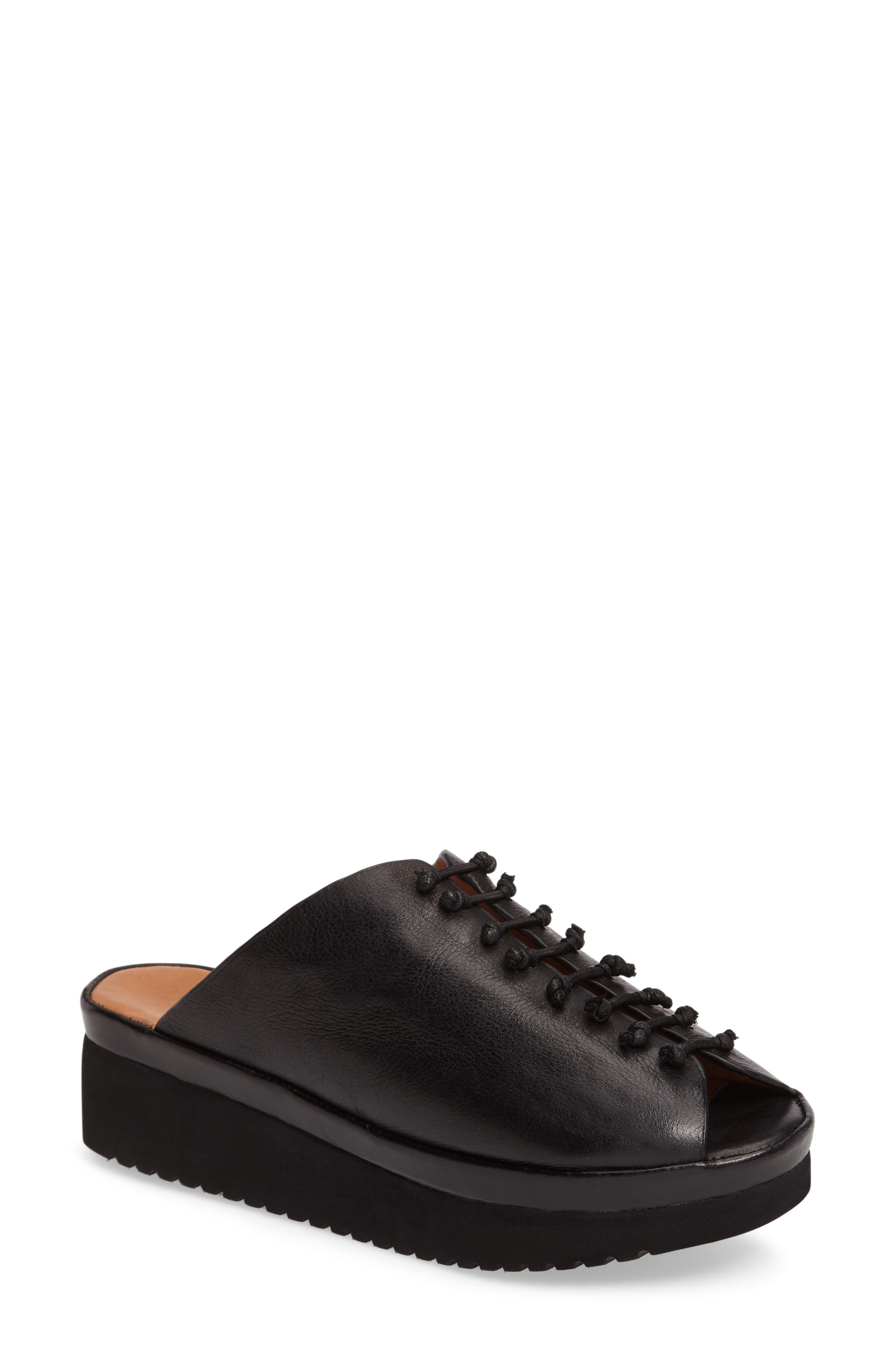 Arienne Wedge Platform Sandal,                         Main,                         color, Black Leather