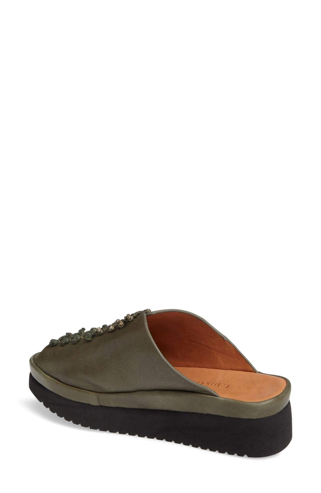Arienne Wedge Platform Sandal,                             Alternate thumbnail 2, color,                             Olive Leather