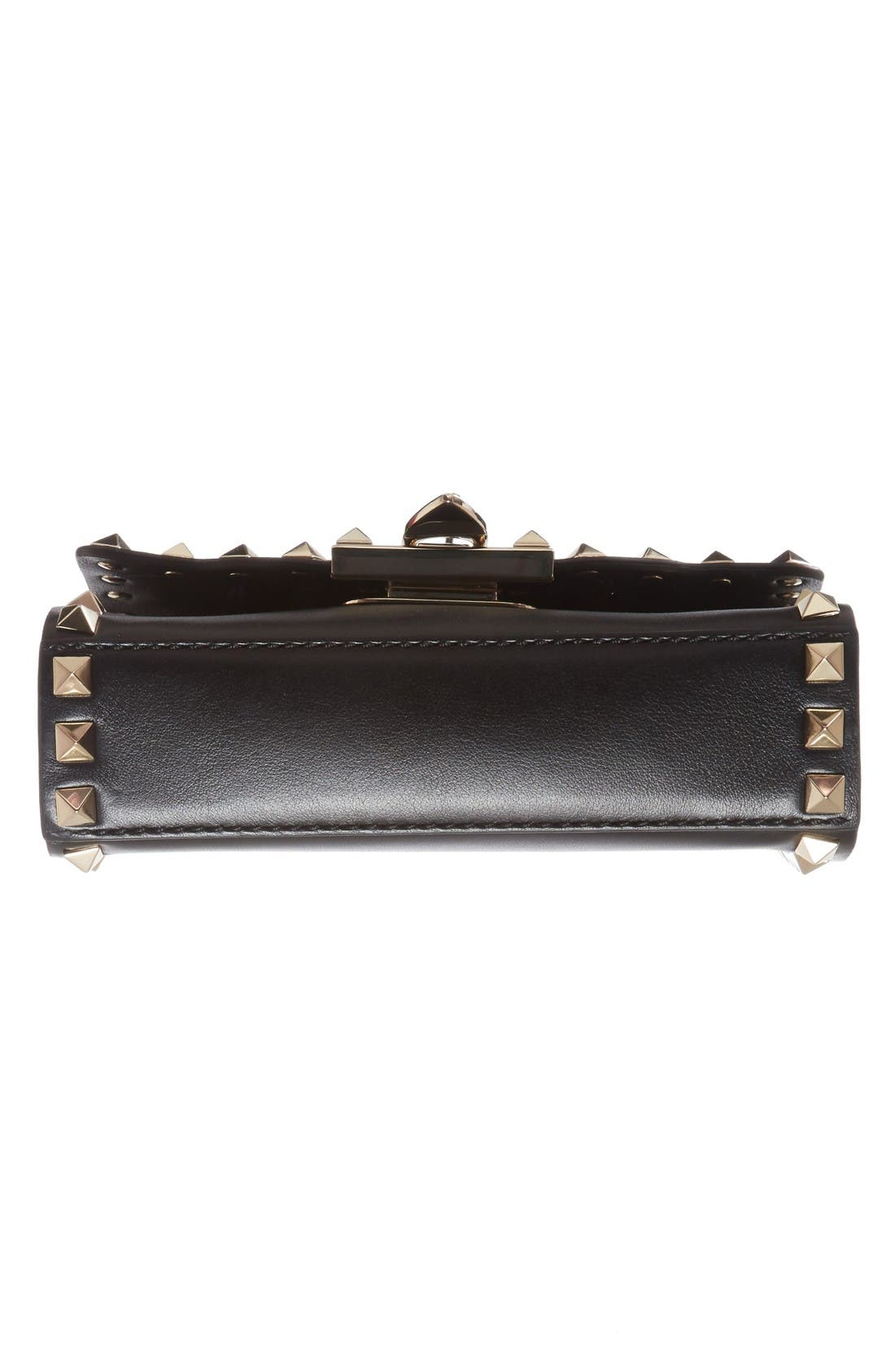 Small Rockstud Leather Shoulder Bag,                             Alternate thumbnail 6, color,                             Nero
