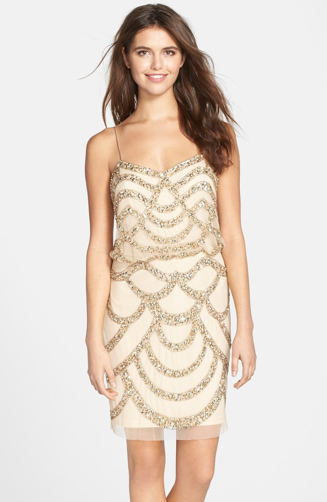 Main Image - Aidan Mattox Embellished Mesh Blouson Dress