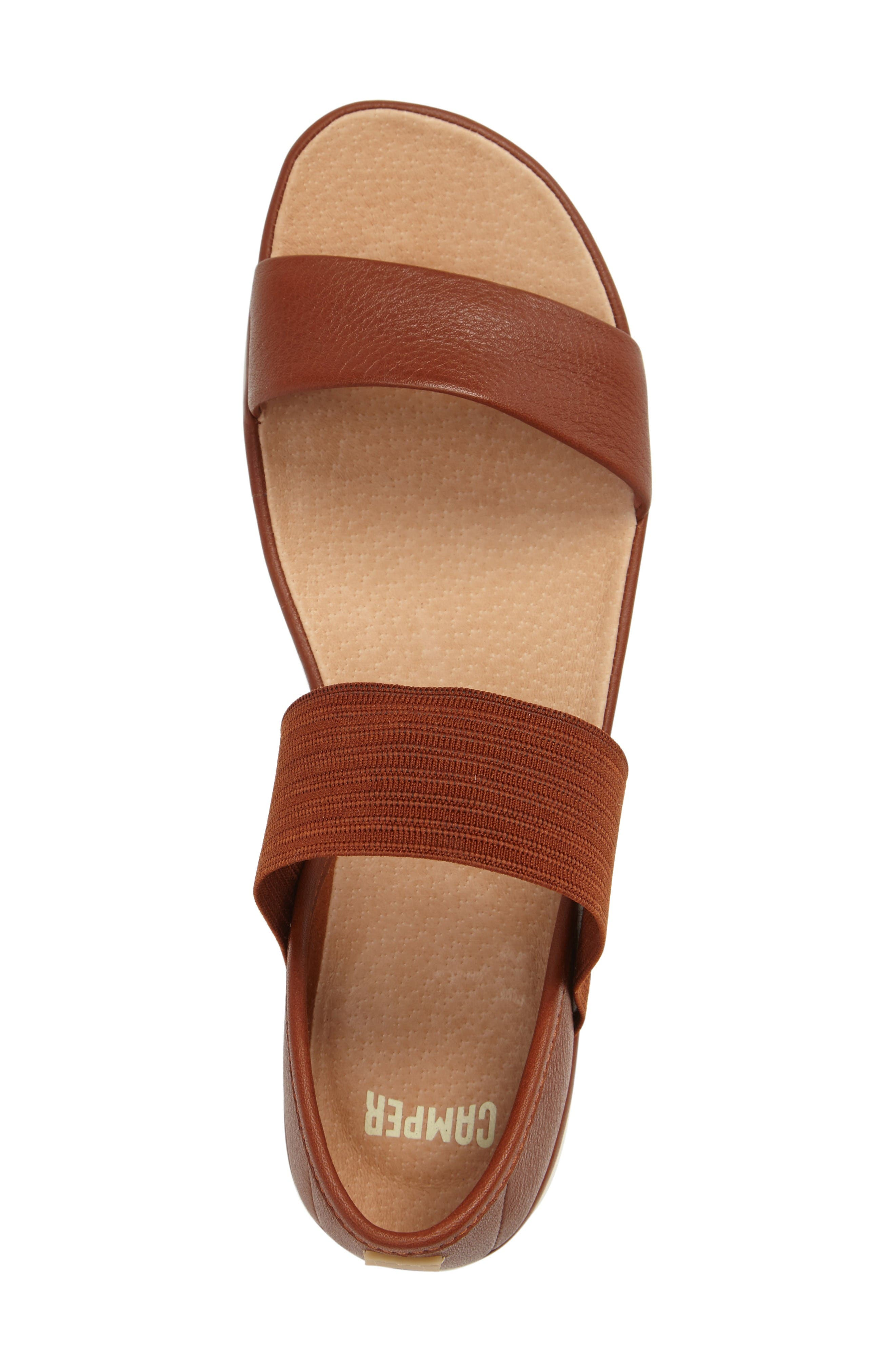 'Right Nina' Sandal,                             Alternate thumbnail 3, color,                             Brown Leather
