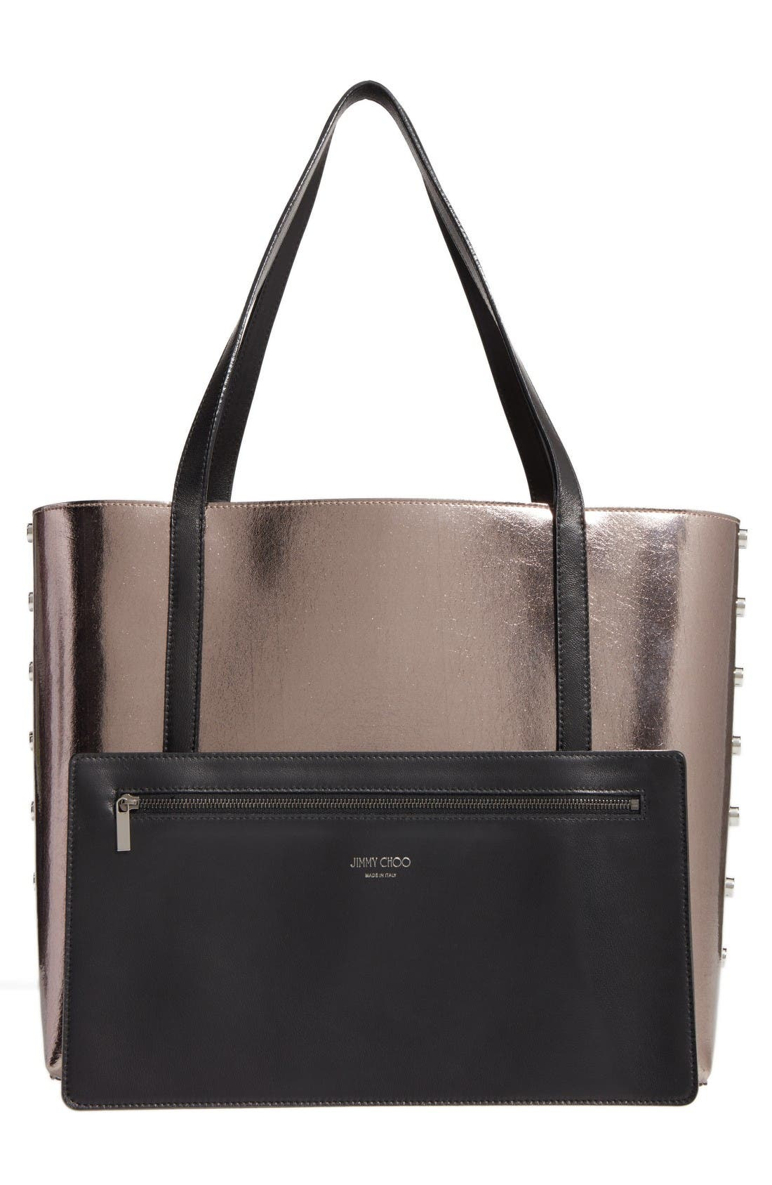 Twist East West Leather Tote,                             Alternate thumbnail 2, color,                             Black/Gunmetal/Dark Silver