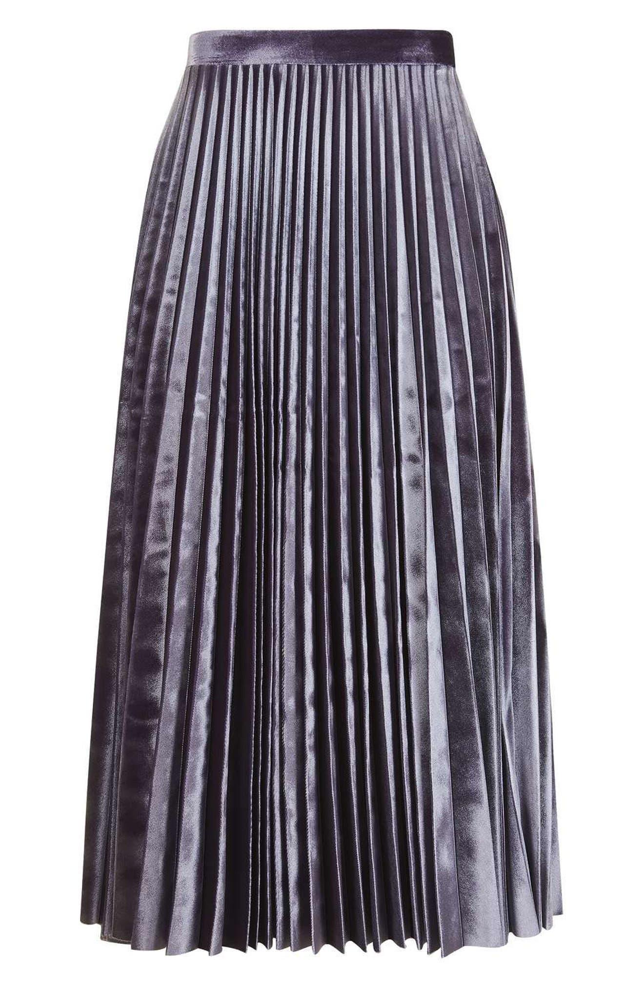 Alternate Image 5  - Topshop Velvet Pleated Midi Skirt