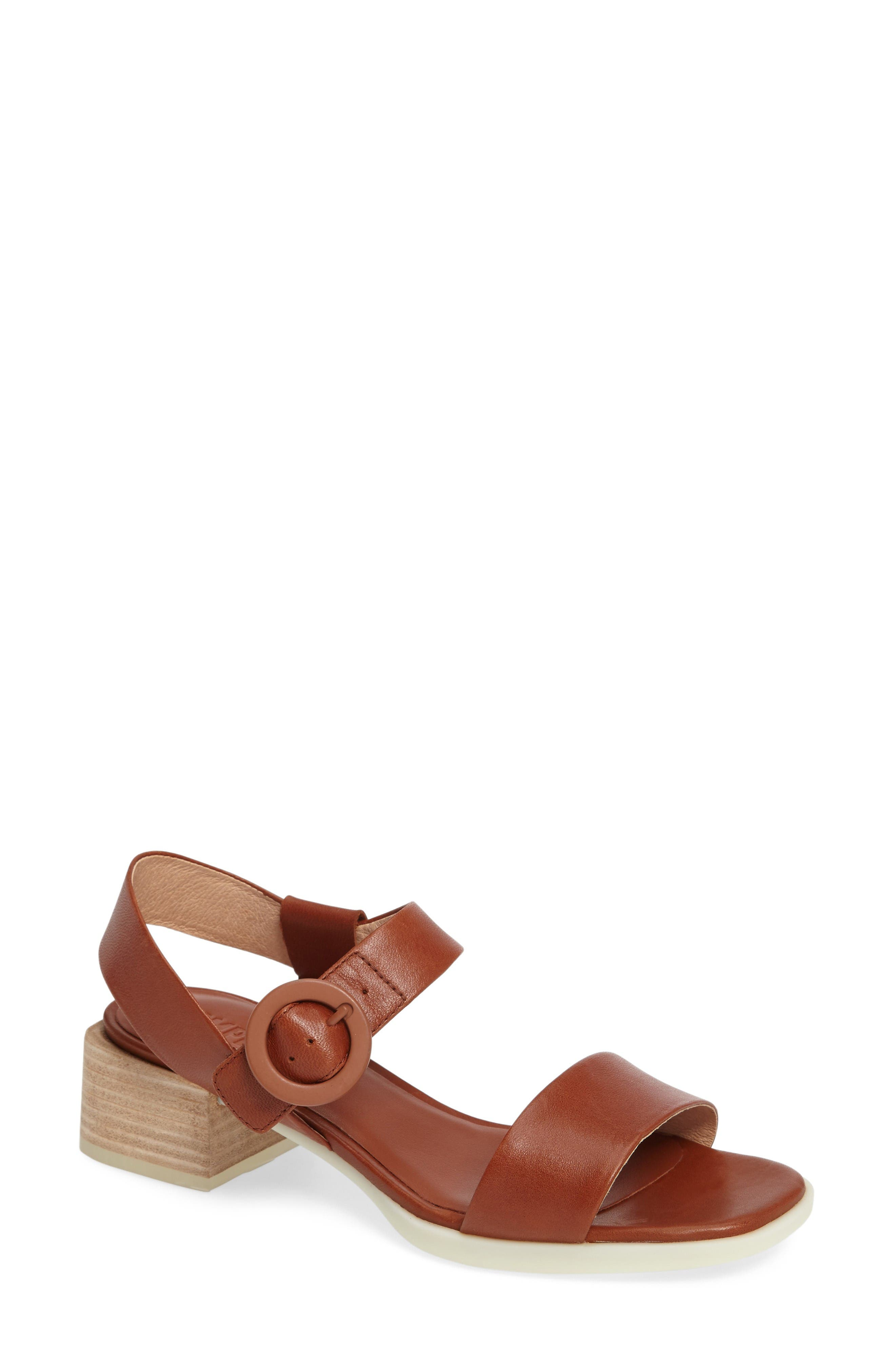 Kobo Buckle Strap Sandal,                         Main,                         color, Brown Leather