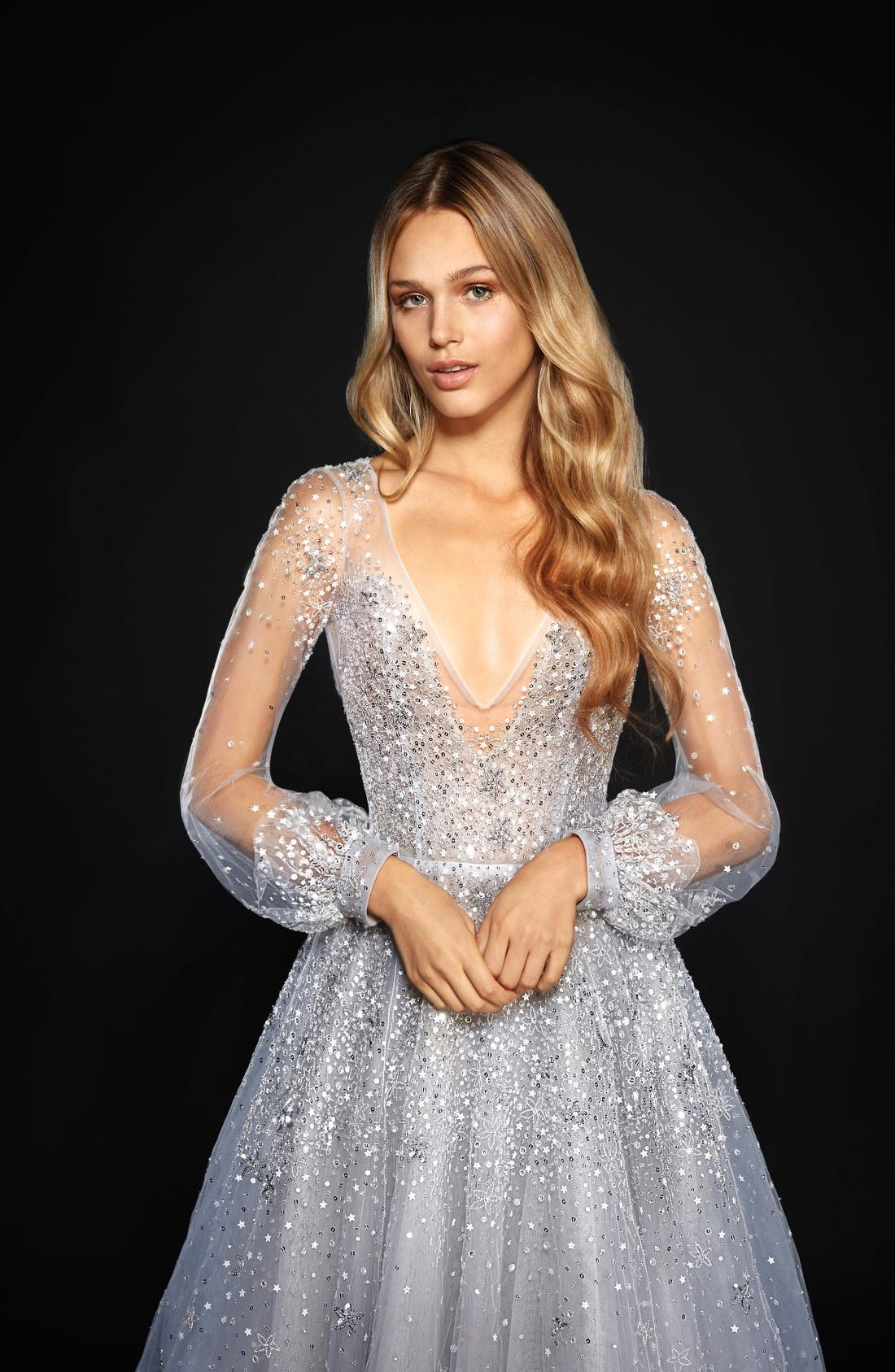 Lumi Embellished Long Sleeve Tulle Ballgown,                             Alternate thumbnail 3, color,                             Bluemoon