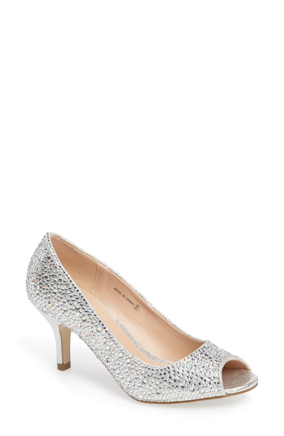 pink paradox london Chantal Peep Toe Crystal Pump (Women)