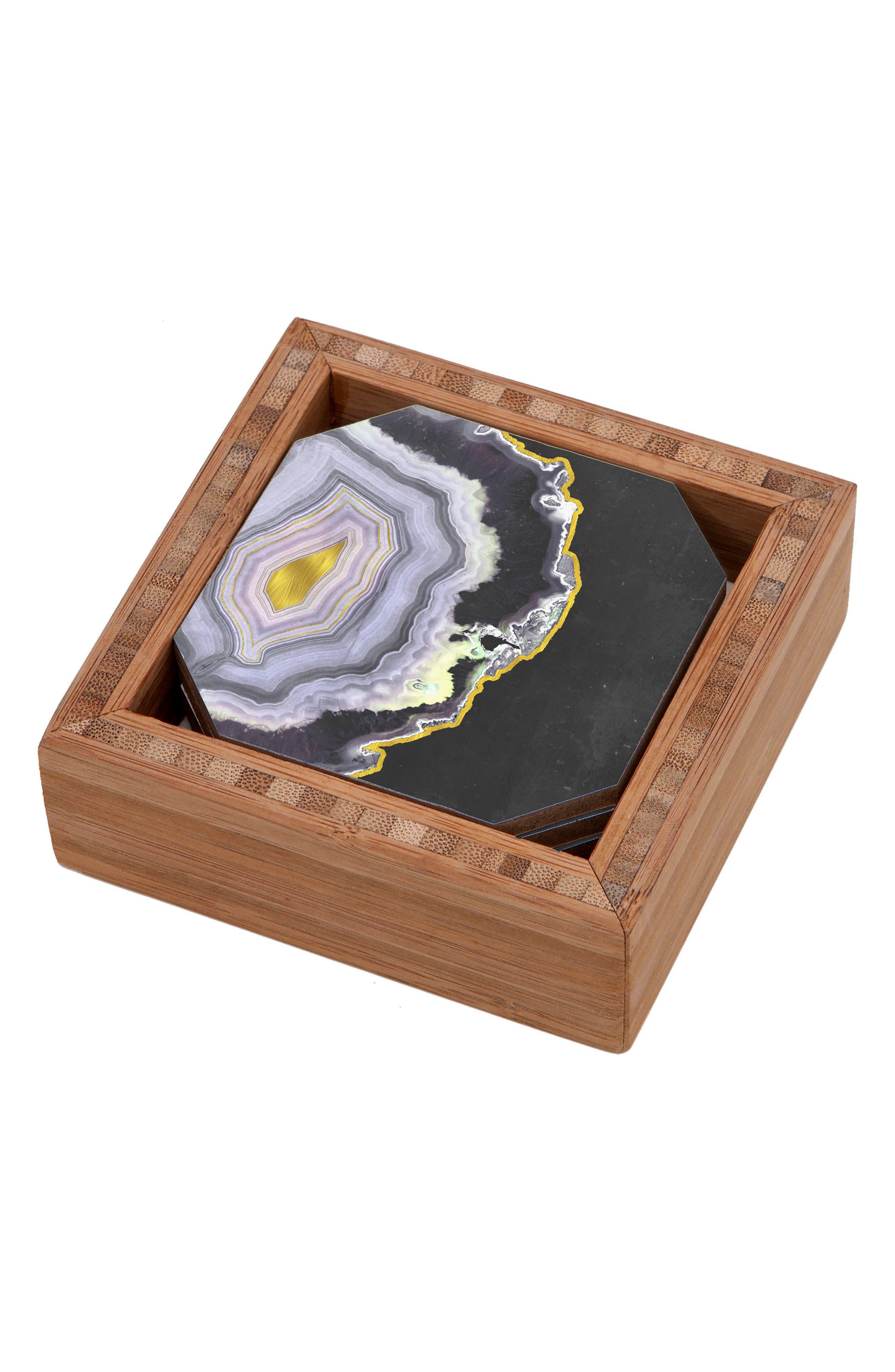 Black Agate Set of 4 Coasters,                             Main thumbnail 1, color,                             Multi